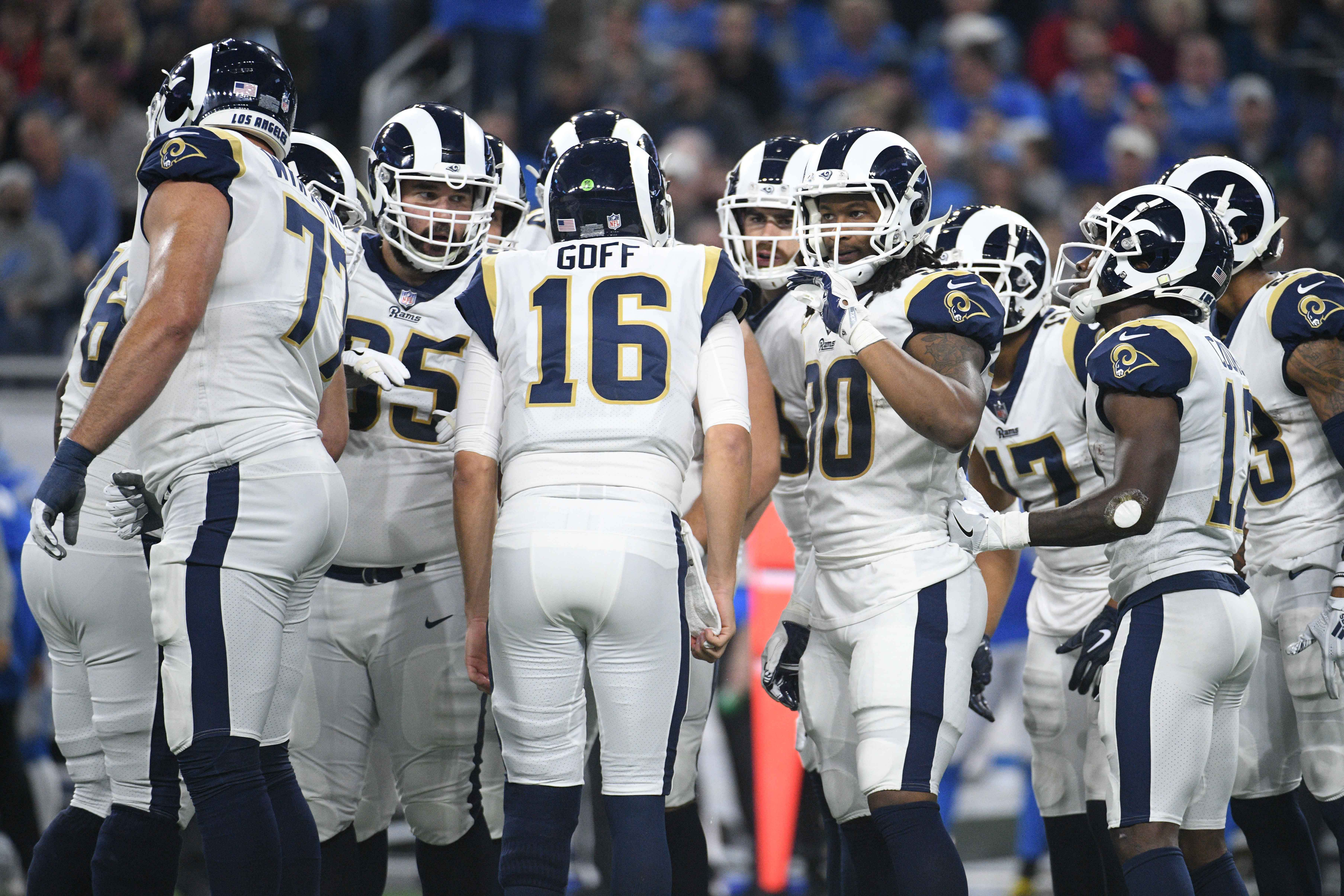 The Los Angeles Rams huddle against the Detroit Lions in Week 13, Dec. 2, 2018.
