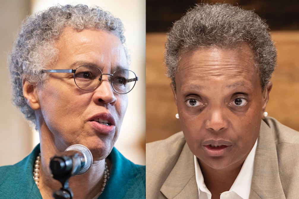Cook County Board President Toni Preckwinkle, left, in March; Mayor Lori Lightfoot, right, on Friday.