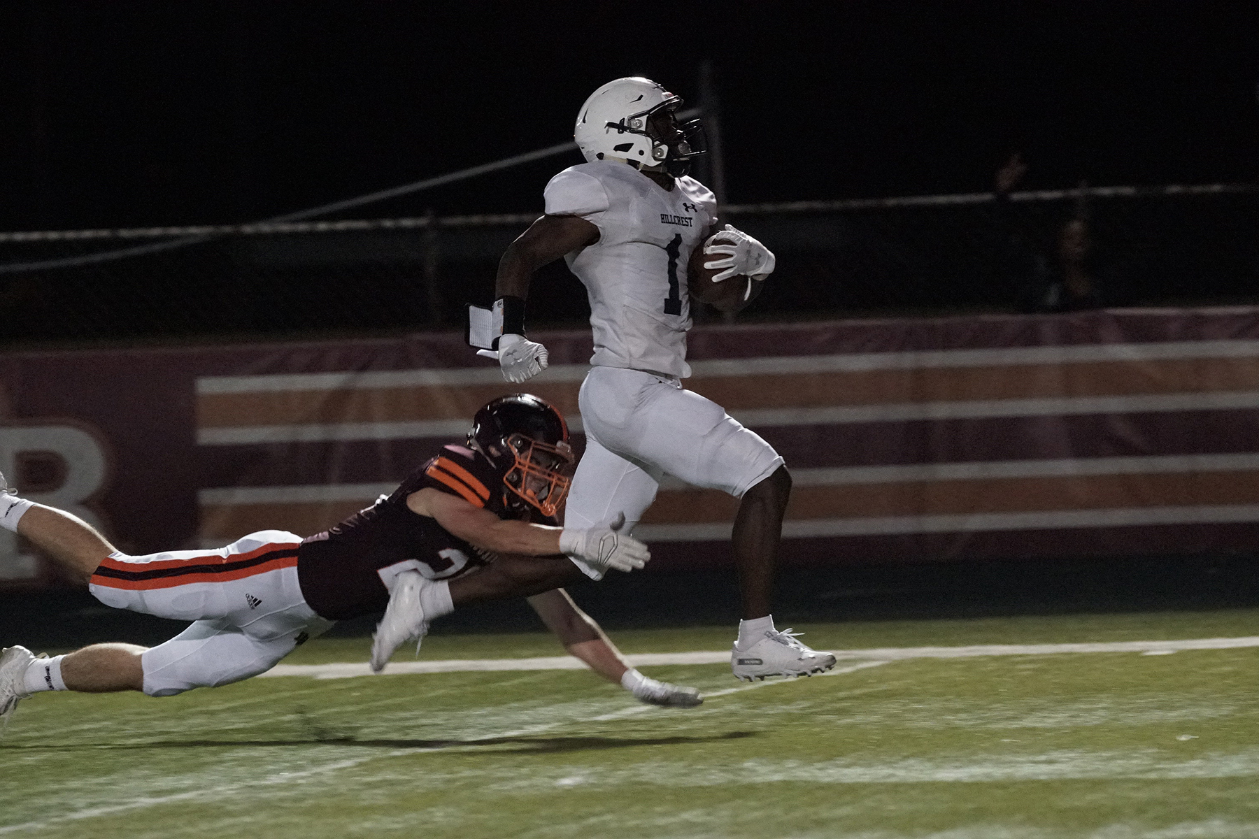 Hillcrest's Darius Dawson (1) breaks free for a touchdown against Brother Rice.