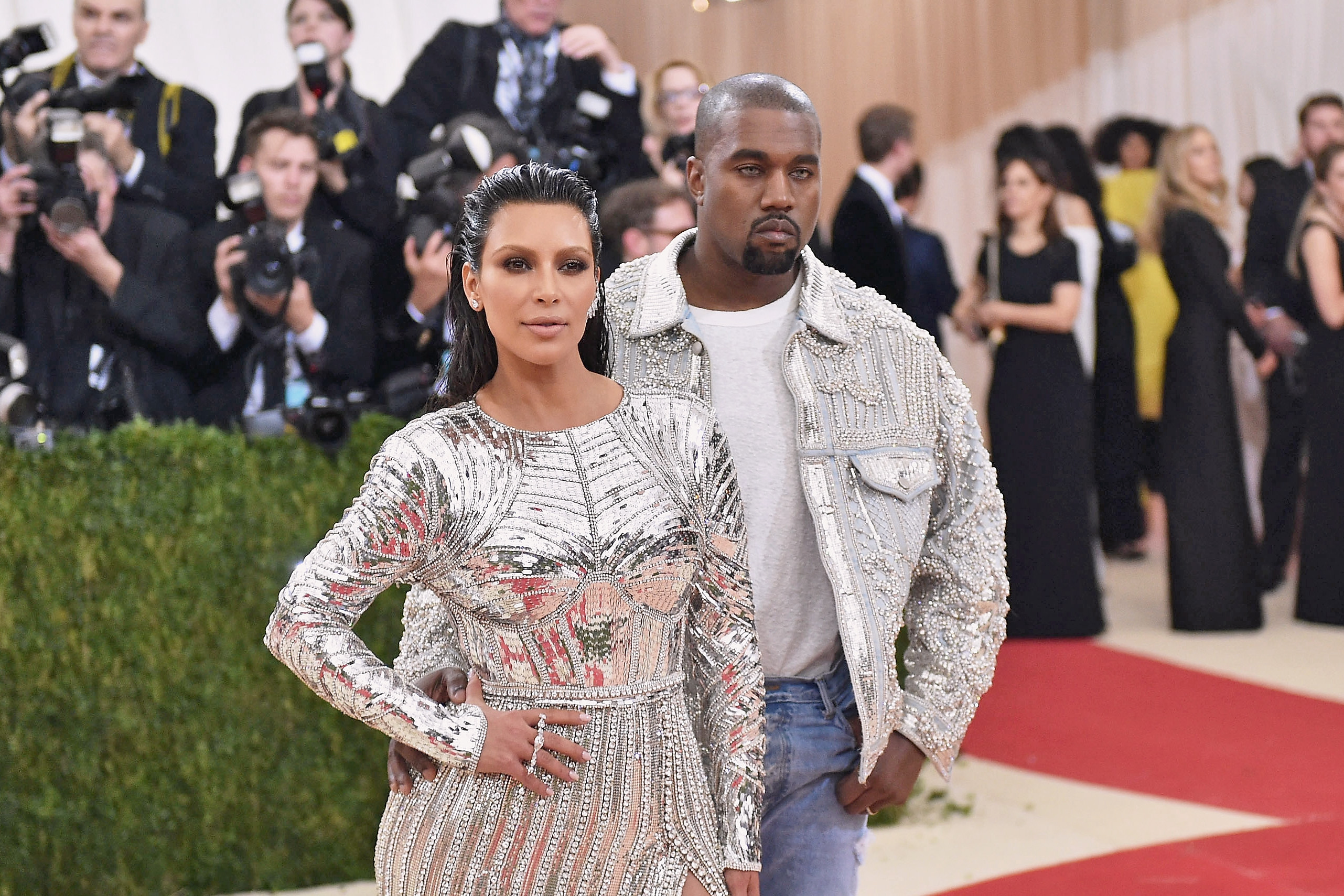 """Kim Kardashian and Kanye West attend the """"Manus x Machina: Fashion In An Age Of Technology"""" Costume Institute Gala at Metropolitan Museum of Art on May 2, 2016 in New York City."""
