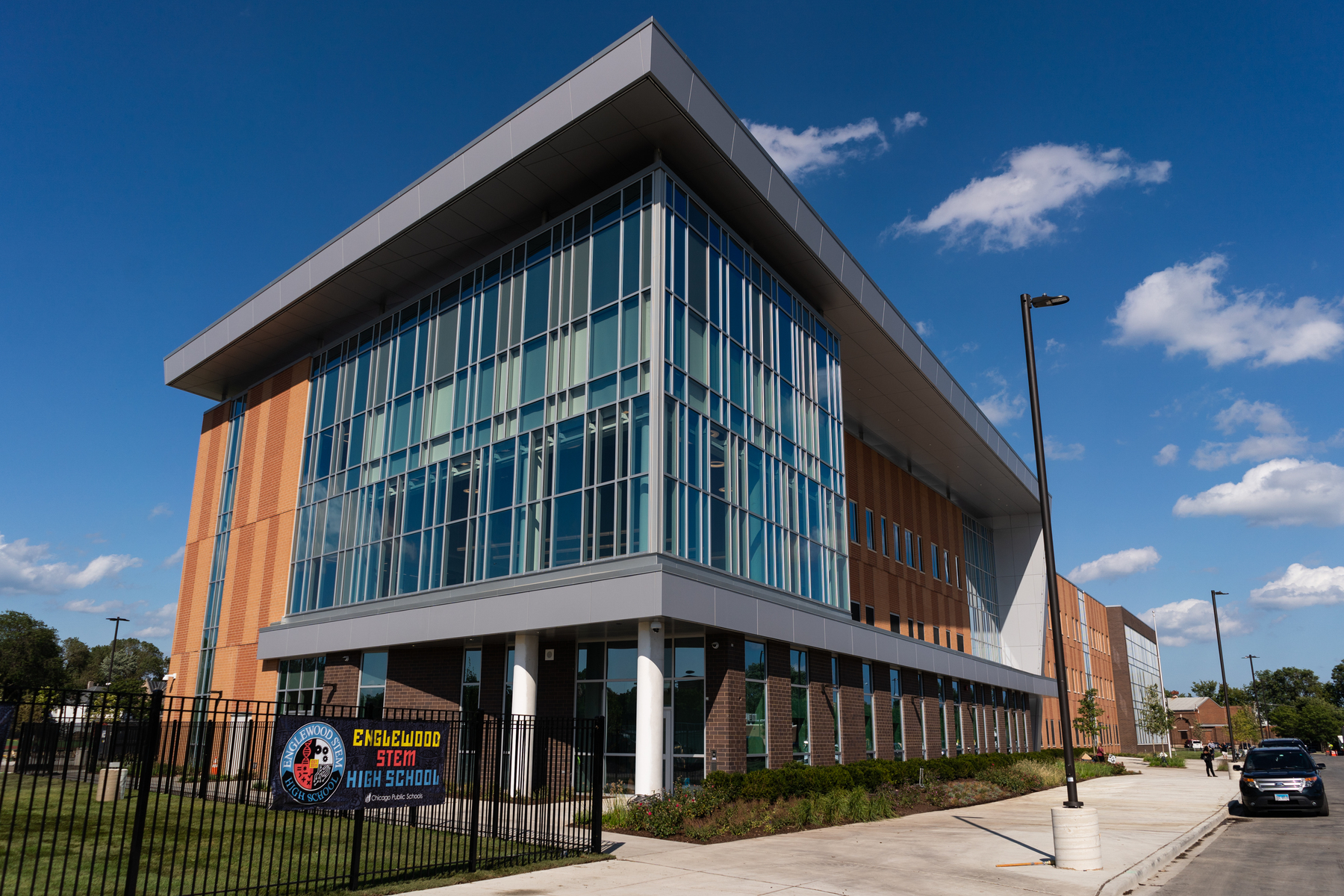 An exterior view of Englewood STEM High School which opens its doors on September 3.