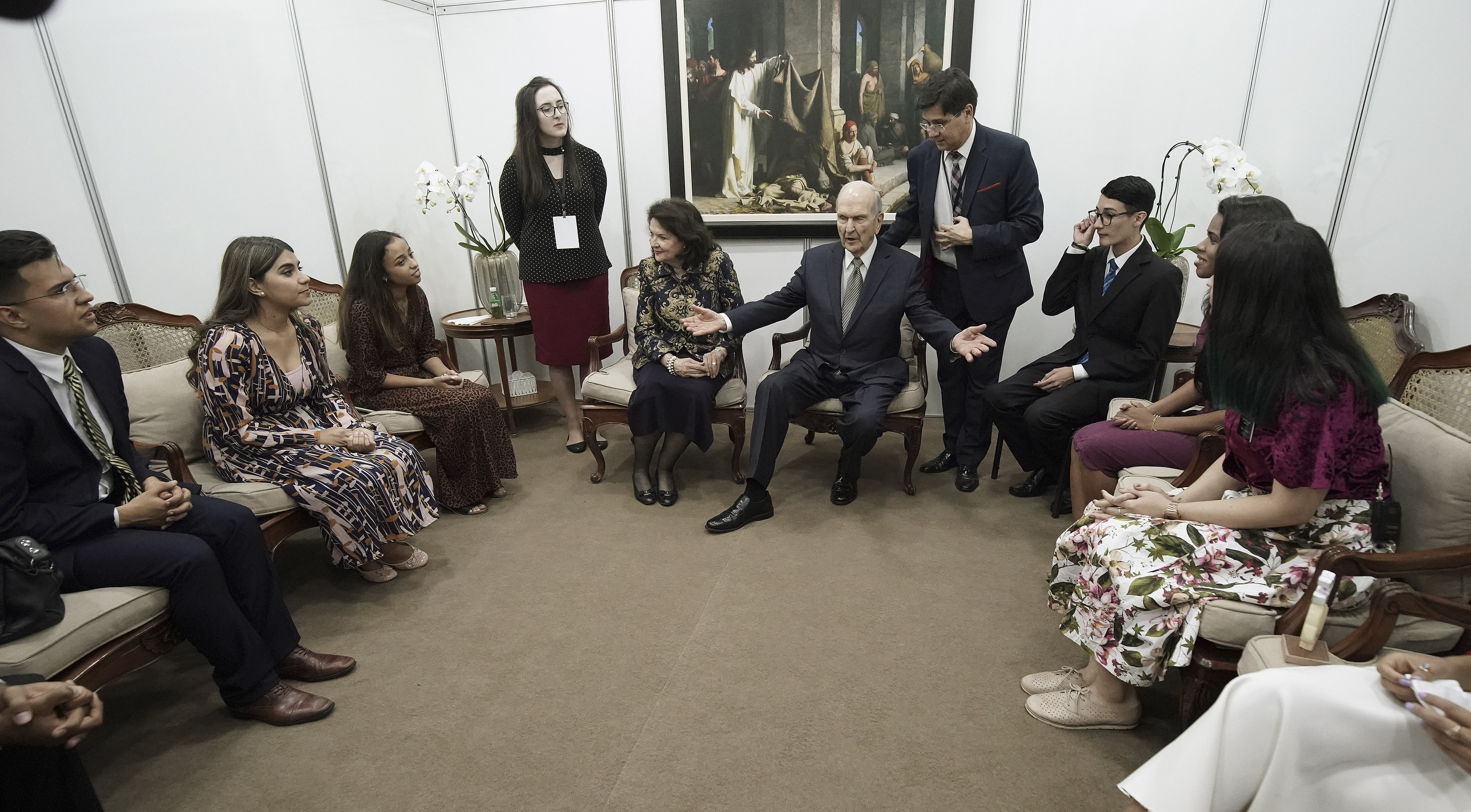 President Russell M. Nelson of The Church of Jesus Christ of Latter-day Saints and his wife Sister Wendy Nelson meet with young adults in Sao Paulo, Brazil, on Sunday, Sept. 1, 2019.