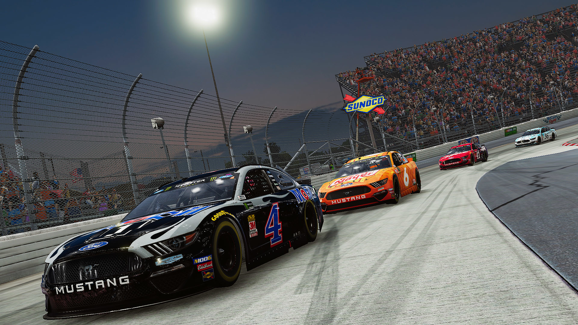 a black Ford Mustang leads the pack in a nighttime race in NASCAR Heat 4