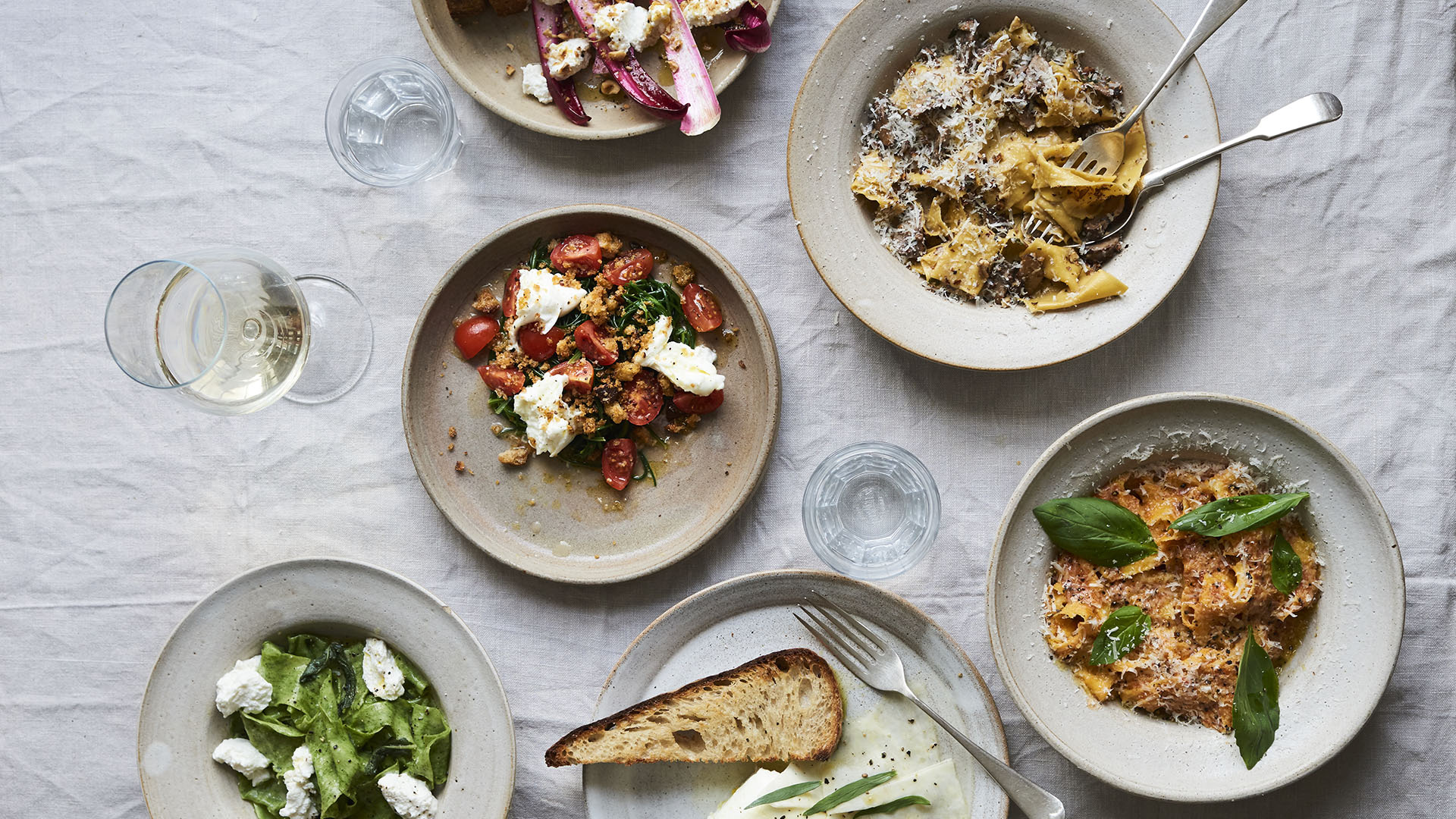 Pappardelle, salads, and feta at 26 Grains, which will open a new Borough Market restaurant