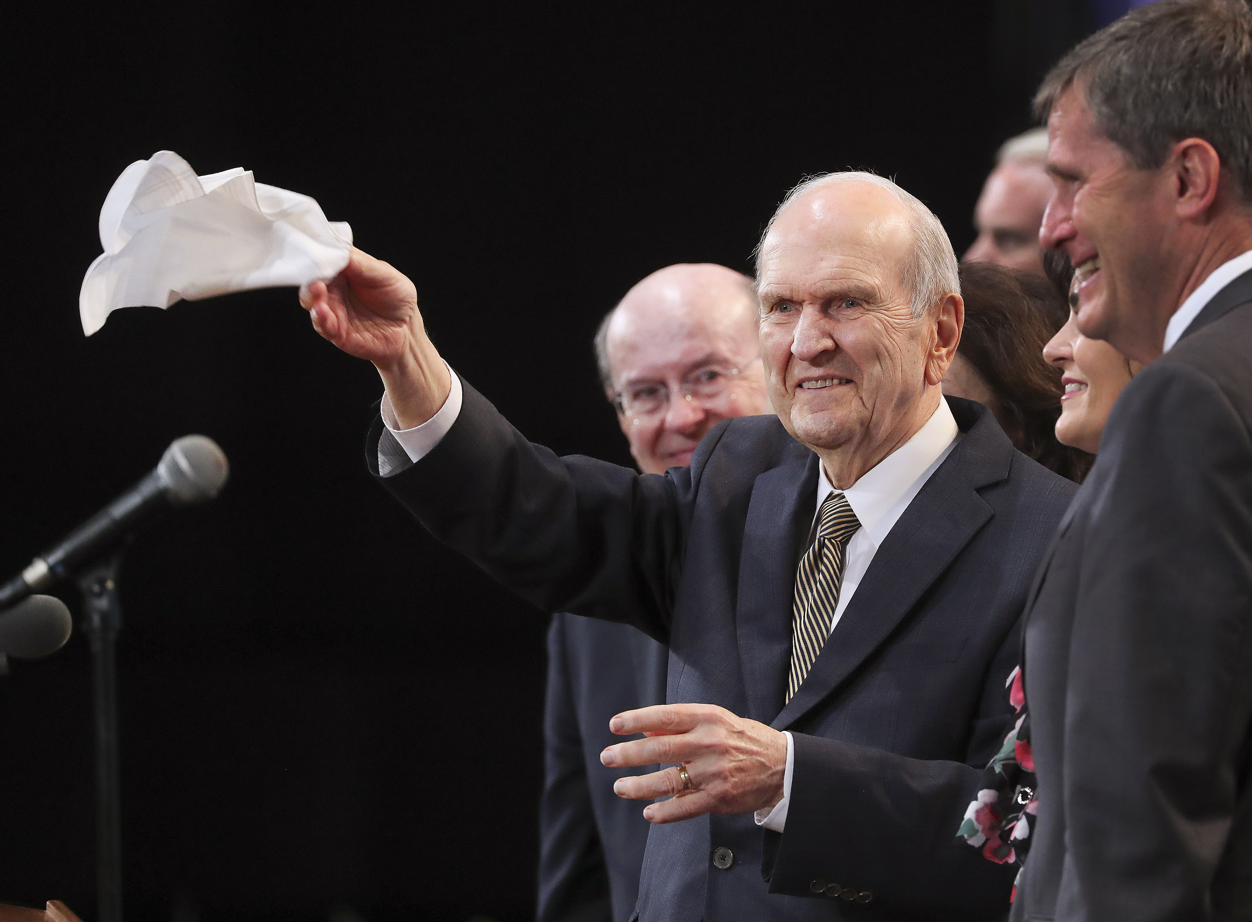 President Russell M. Nelson of The Church of Jesus Christ of Latter-day Saints waves to attendees after a devotional in Sao Paulo, Brazil, on Sunday, Sept. 1, 2019.
