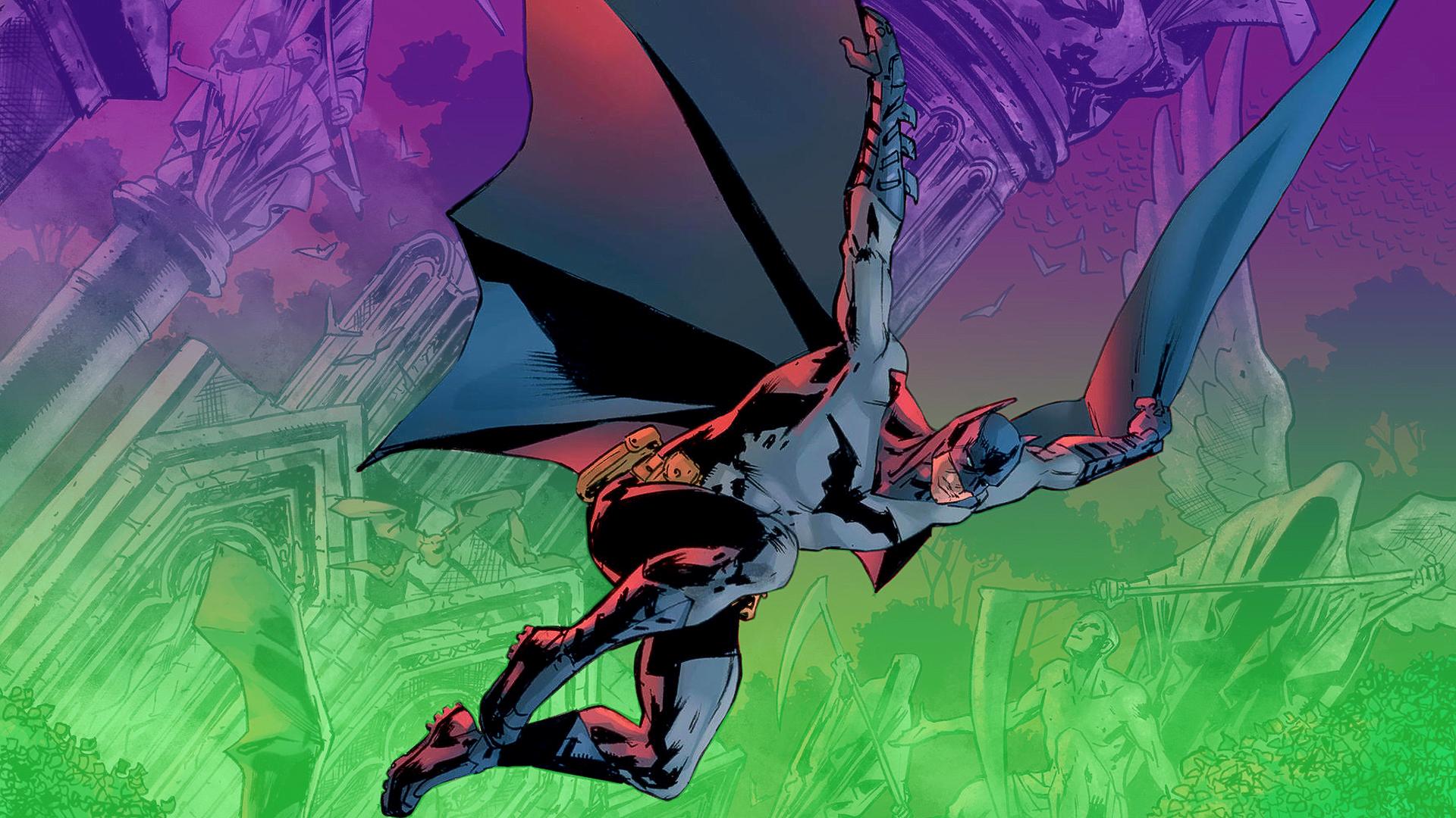 Comic book cover featuring Batman jumping