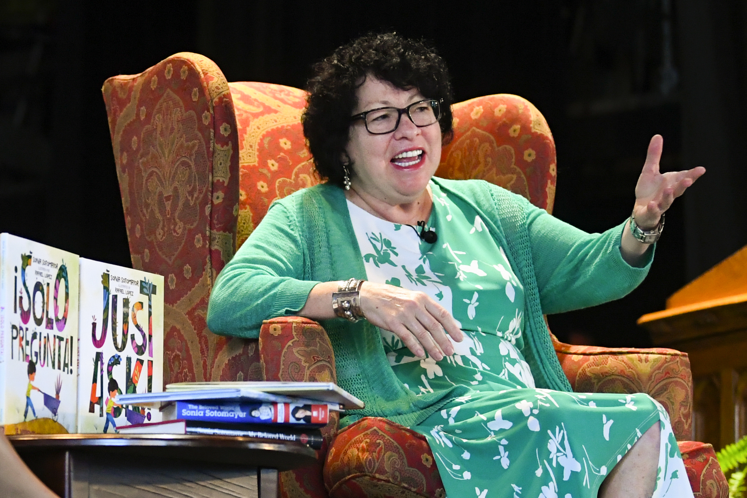 """U.S. Supreme Court Justice Sonia Sotomayor addresses attendees of an event on Sunday promoting her new children's book """"Just Ask!"""" in Decatur, Georgia."""