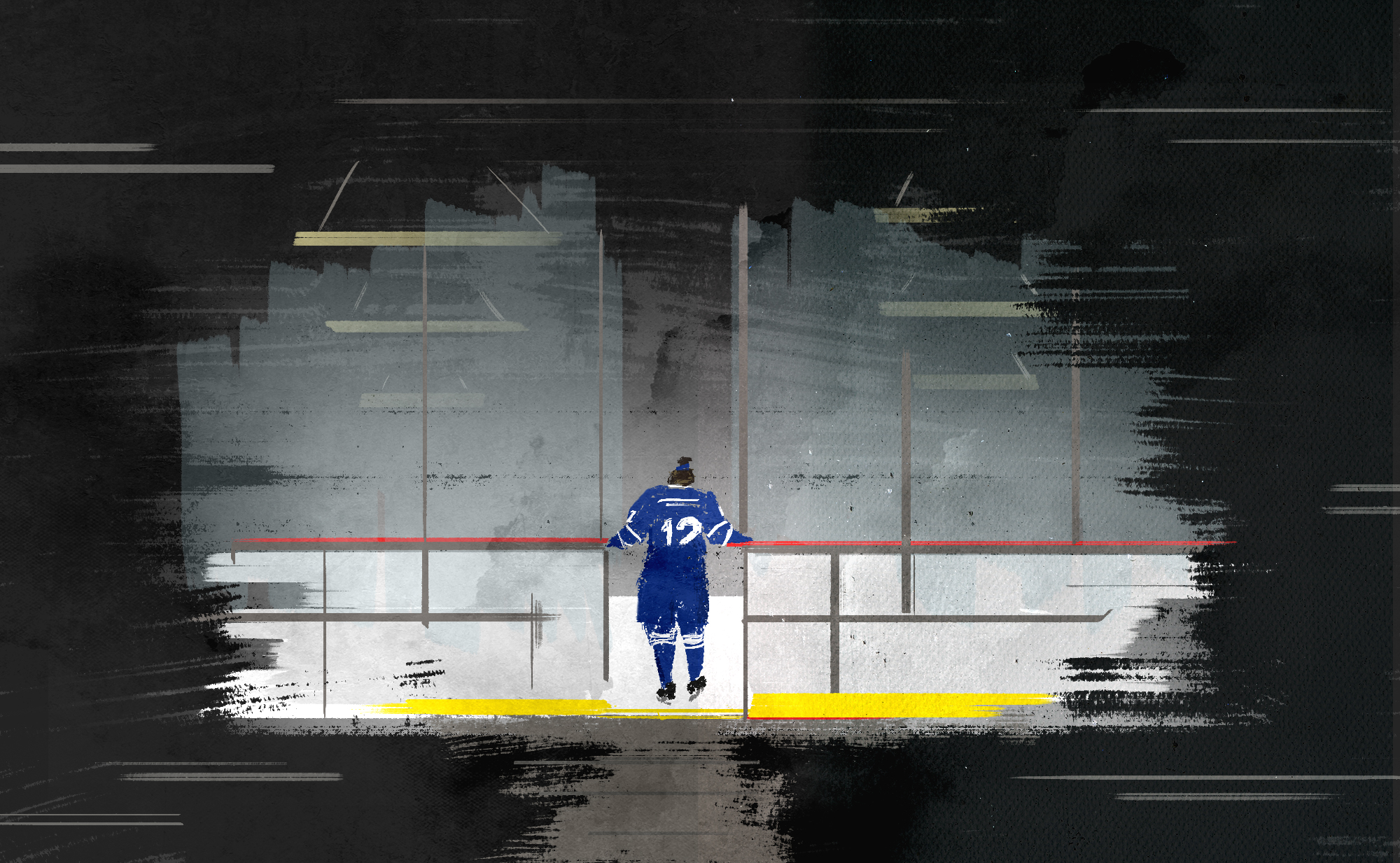Illustration of a women's hockey player stepping onto the ice in an empty arena, surrounded by darkness.