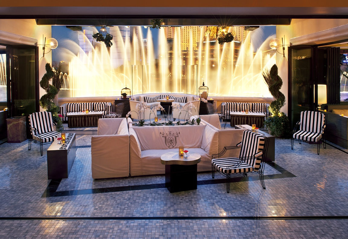 The former view from the shuttered Hyde nightclub, looking out onto the Bellagio resort's fountain display.
