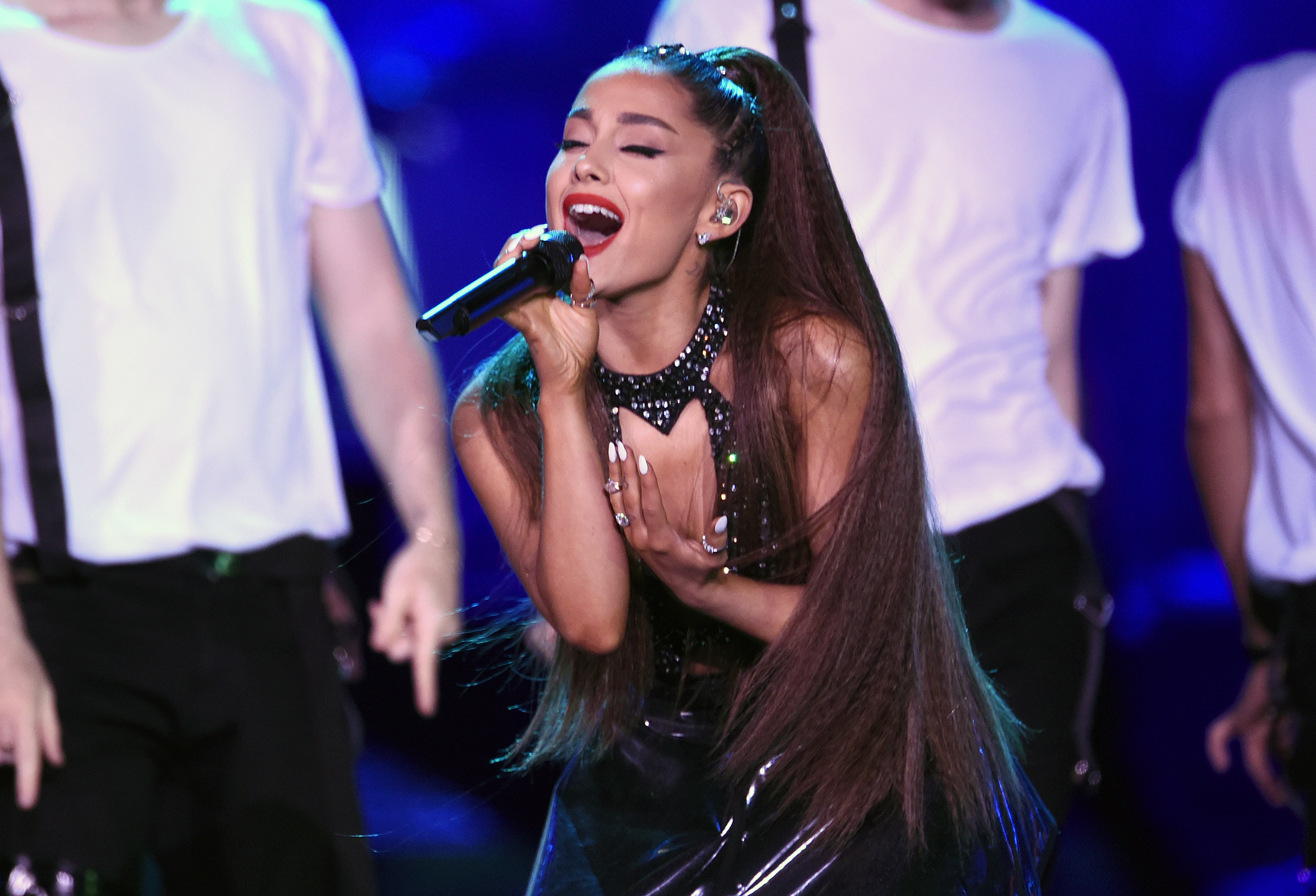 In this June 2, 2018 file photo, Ariana Grande performs at Wango Tango in Los Angeles.