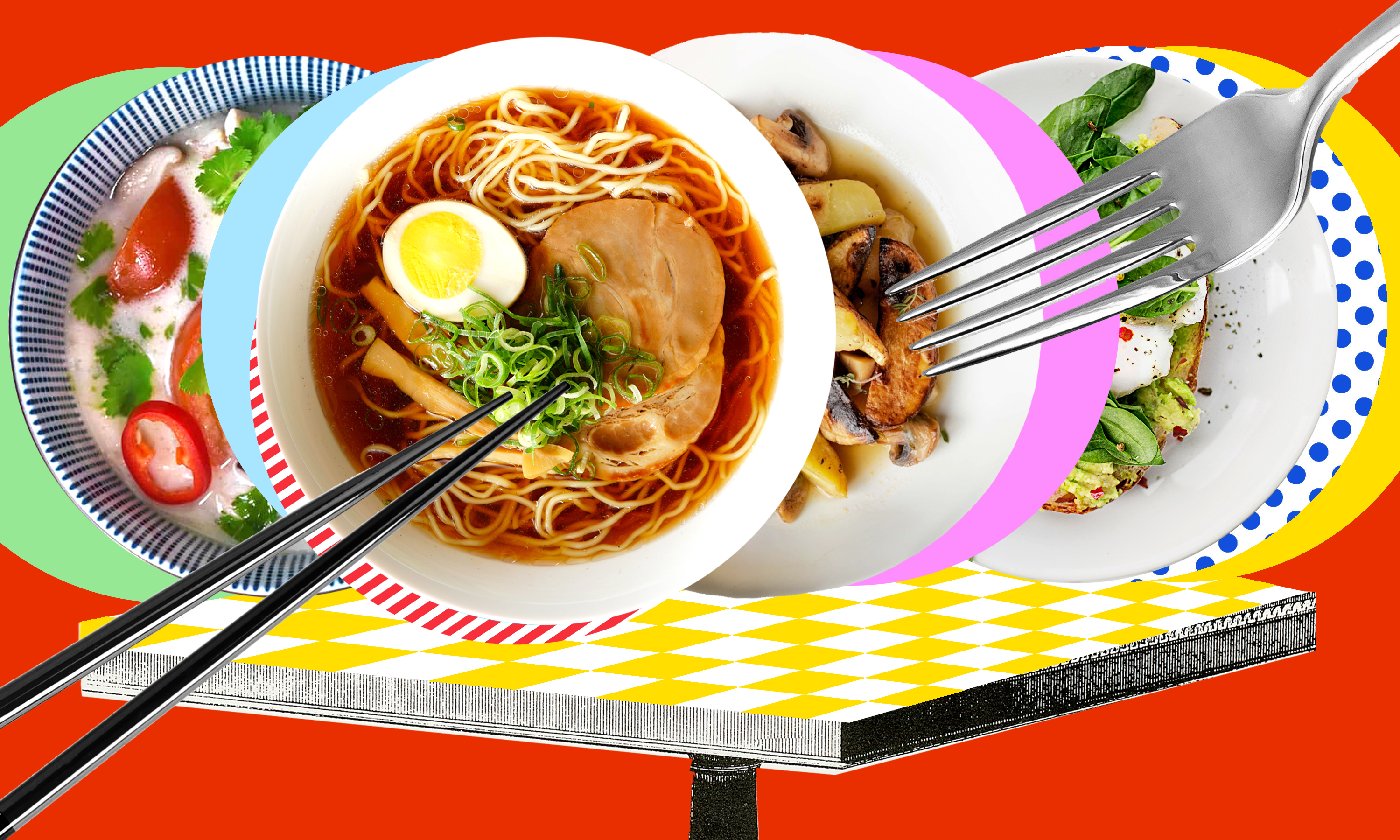 Four dishes, with soup, ramen, and pastas, on top of a checked table.