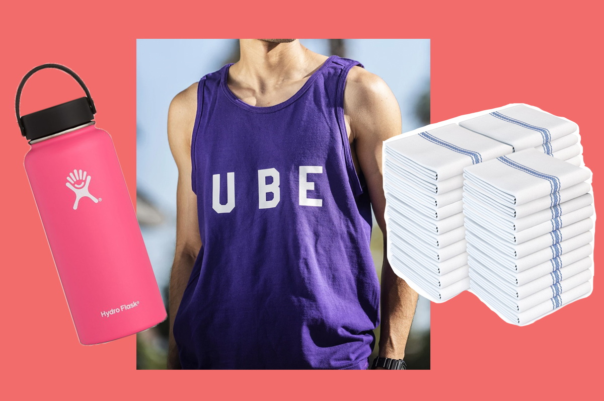 A pink Hydro Flask water bottle, a muscular man wearing a purple tank top, and a stack of white towels, all pasted on a coral pink background