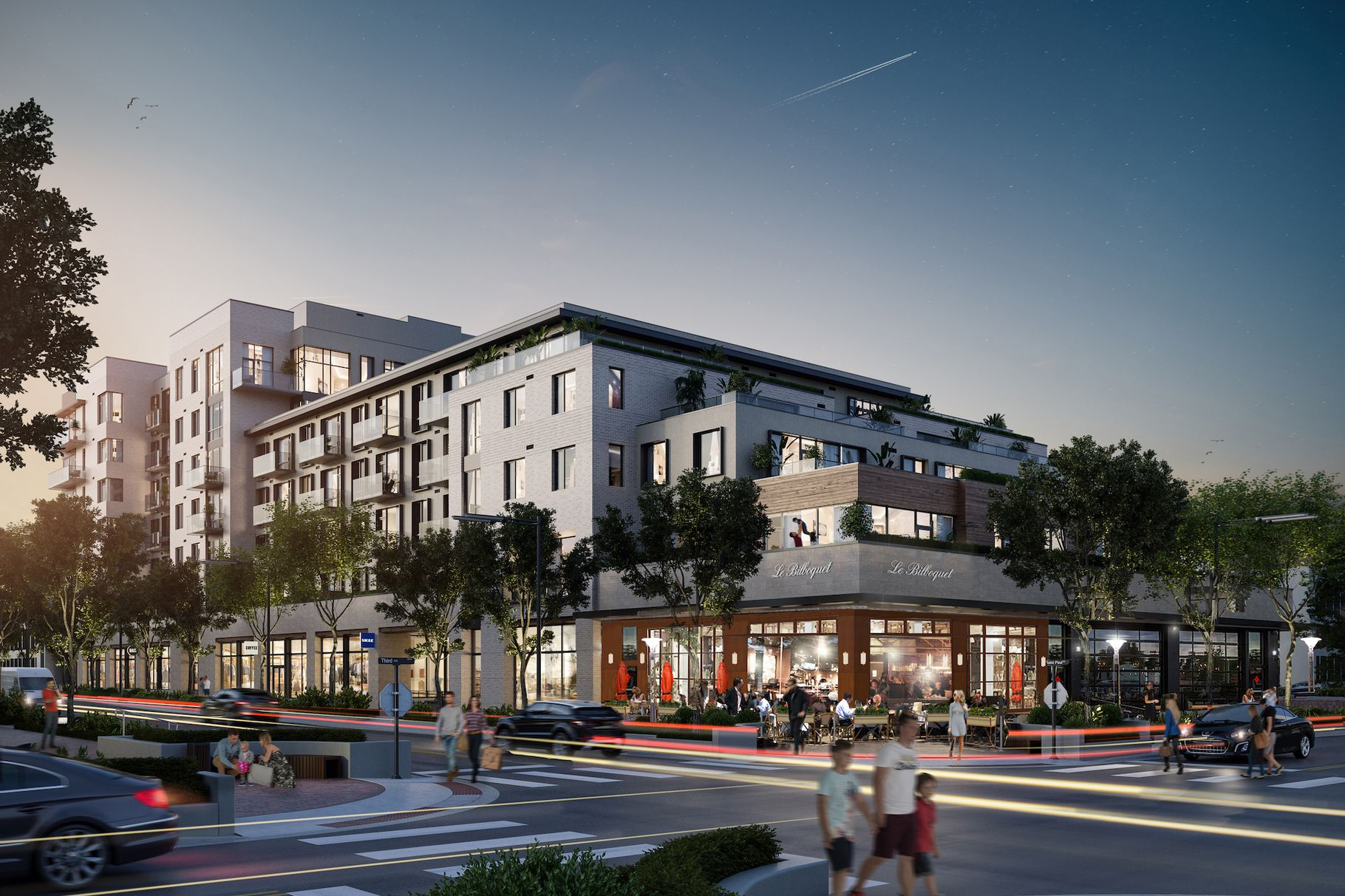 A rendering of the new St. Paul Collection residential building in Cherry Creek with the planned Le Biblioquet restaurant visible in the front of the structure
