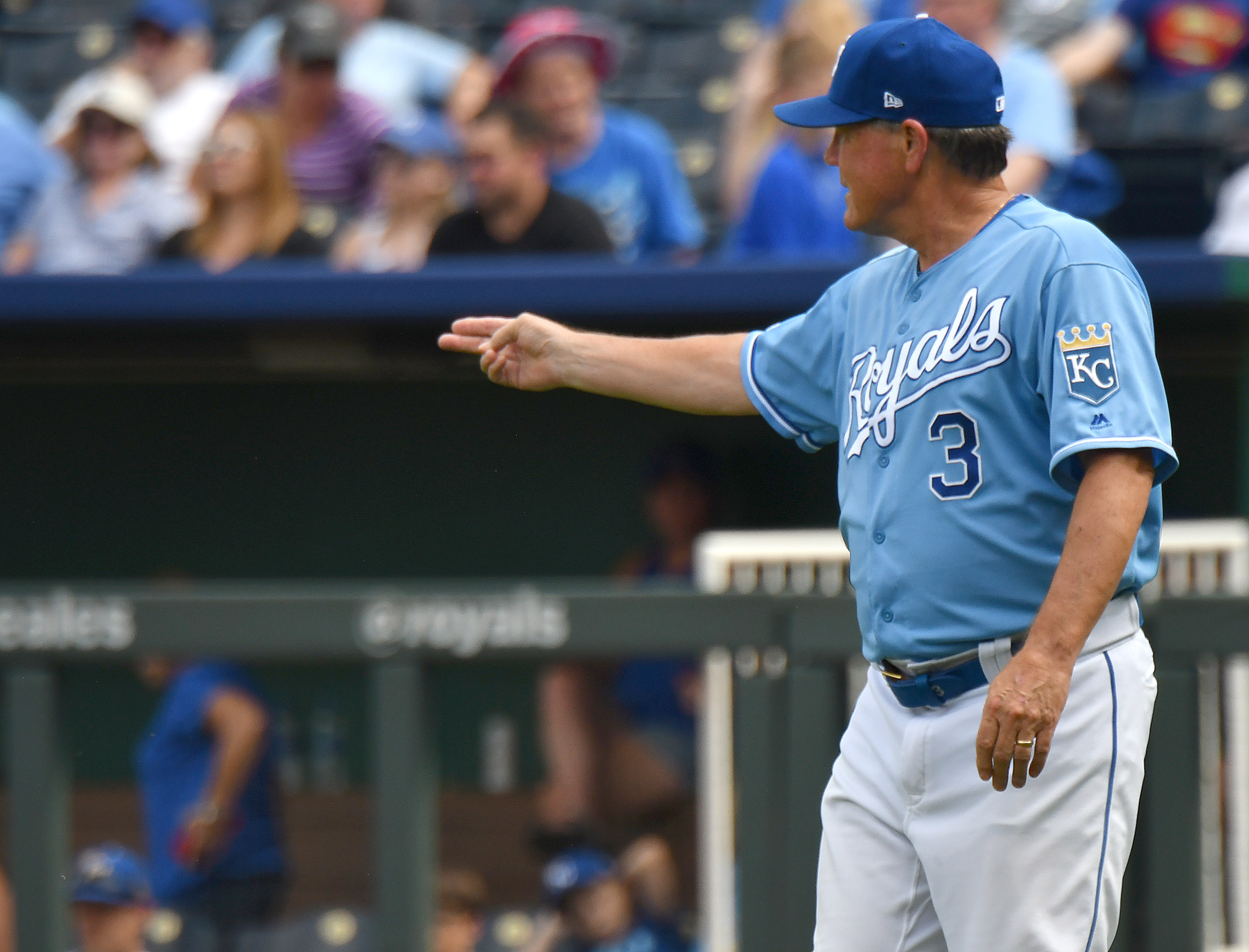 Kansas City Royals Manager Ned Yost signals a pitching change in the seventh inning during a Major League Baseball game between the Baltimore Orioles and the Kansas City Royals on September 01, 2019, at Kauffman Stadium, Kansas City, MO.