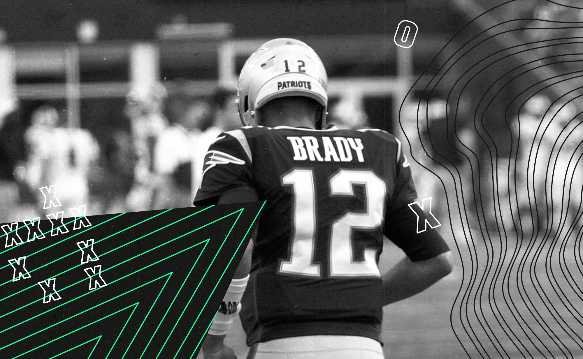 Tom Brady jogging, with the Patriots quarterback facing away from you.