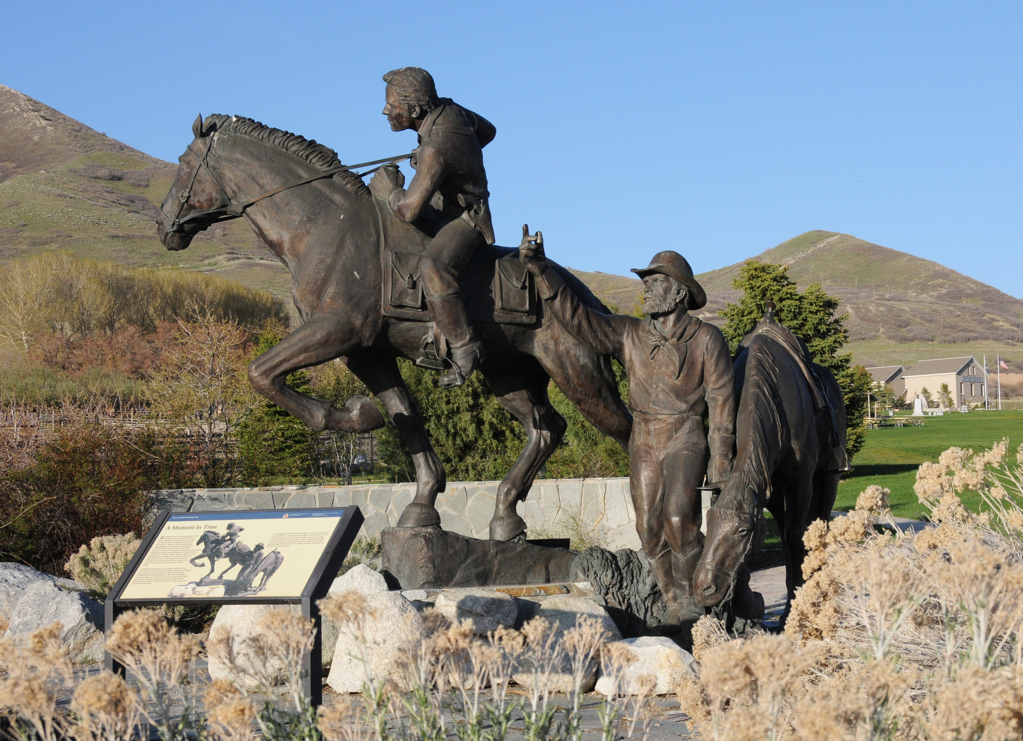 Monument to the Pony Express at This Is the Place Heritage Park, Salt Lake City, Utah.