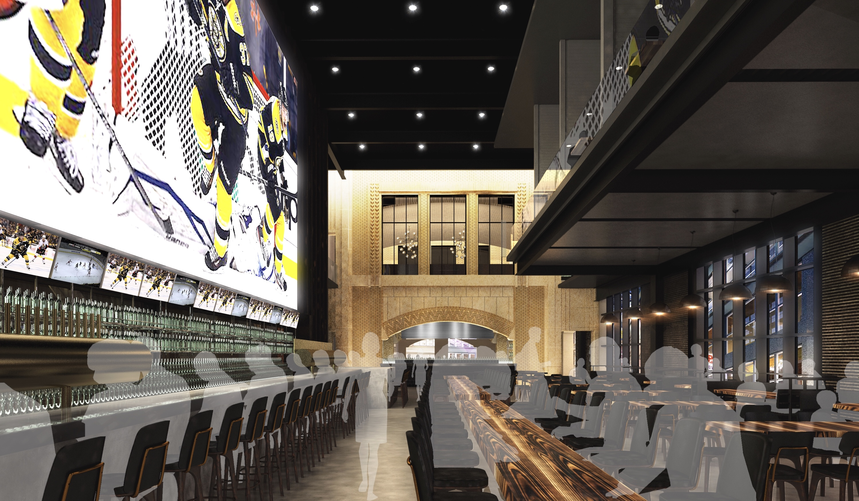 A rendering of the forthcoming Banners Kitchen & Tap, which is a 25,000 square-foot bar and restaurant adjacent to TD Garden in Boston's West End. The space will feature a 39.5-foot television.