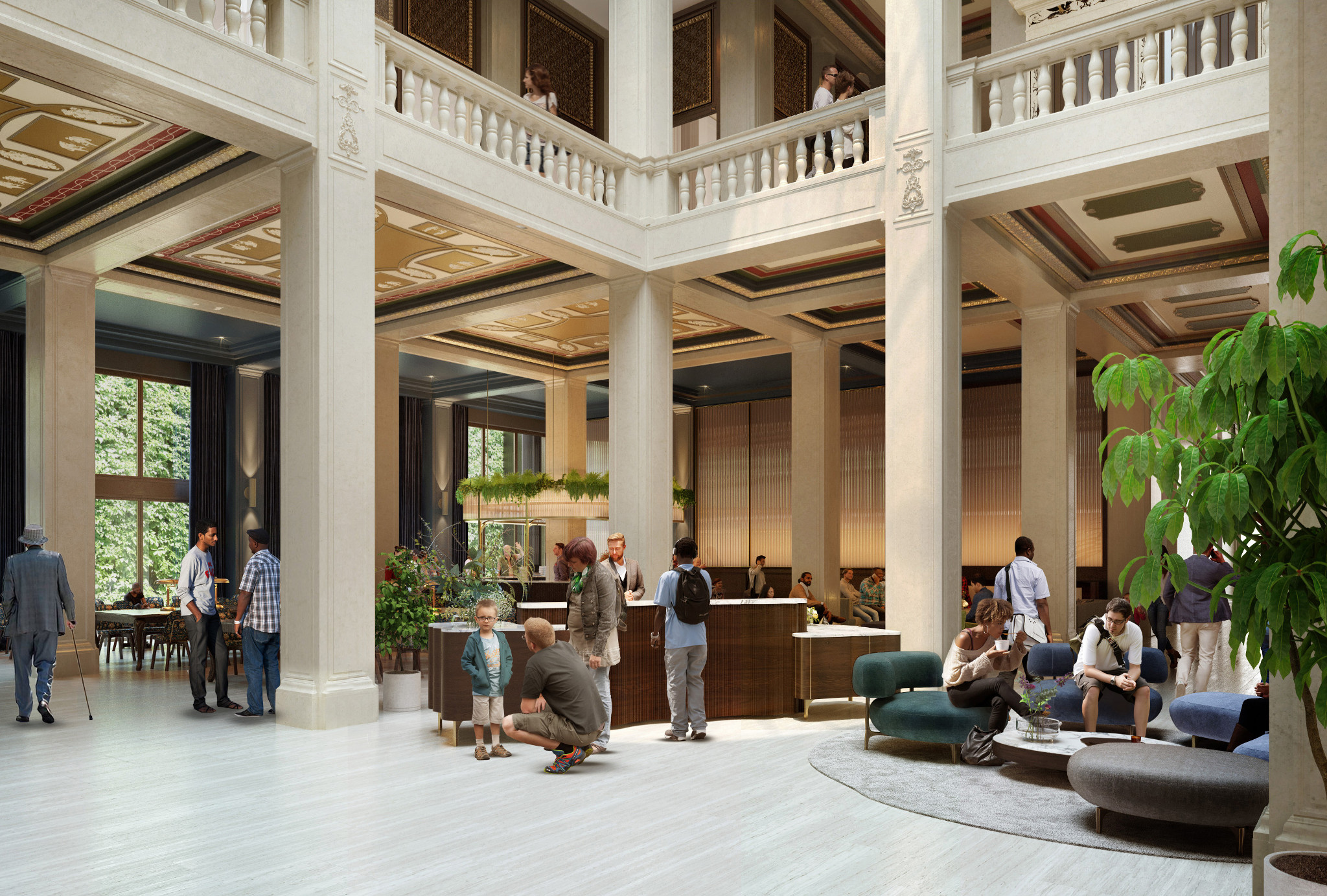 People sit on low couches near planters and wait at a desk area in the lobby. There's tall columns that connect to the second floor.