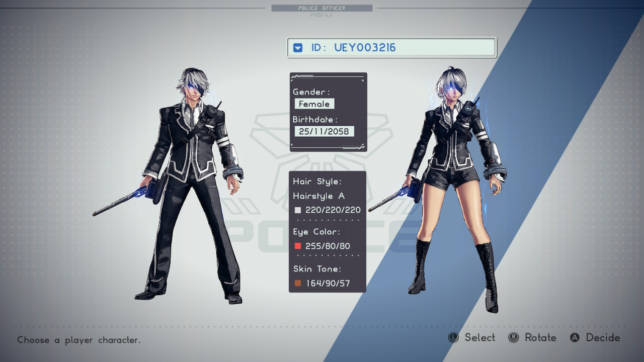 A character select screen of a male and female twin with similar black and white outfits