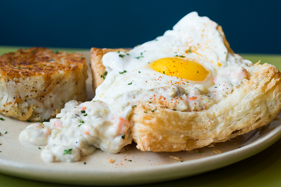 Snooze's breakfast pot pie, topped with a fried egg
