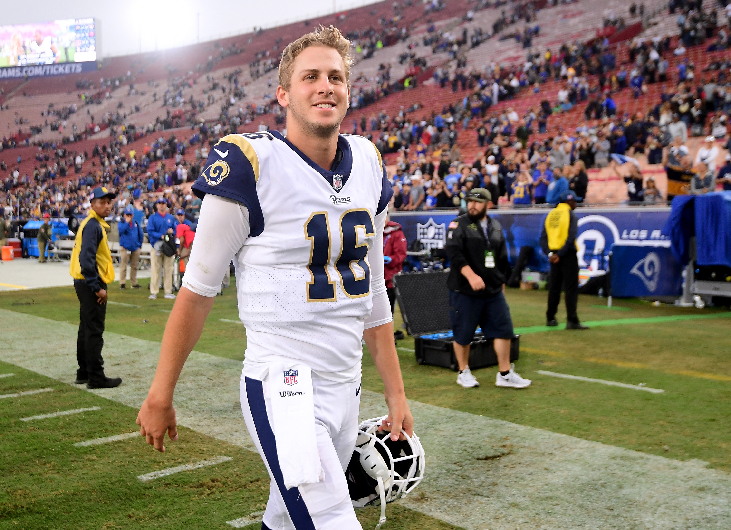 Los Angeles Rams QB Jared Goffsmiles as he walks off the field after a 33-7 win over the Houston Texans in Week 10, Nov. 12, 2017.