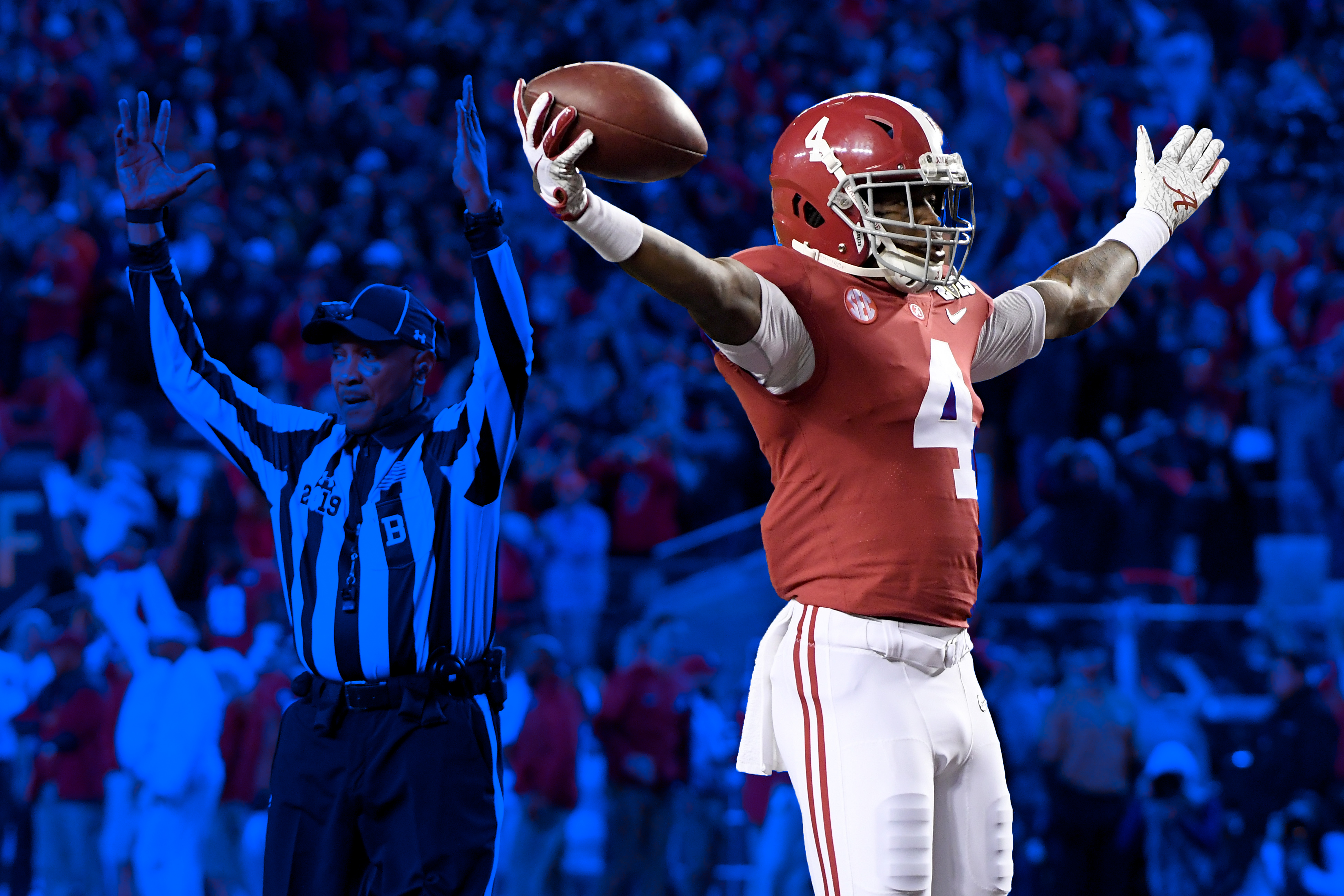 Jerry Jeudy after catching a touchdown in the College Football Playoff.