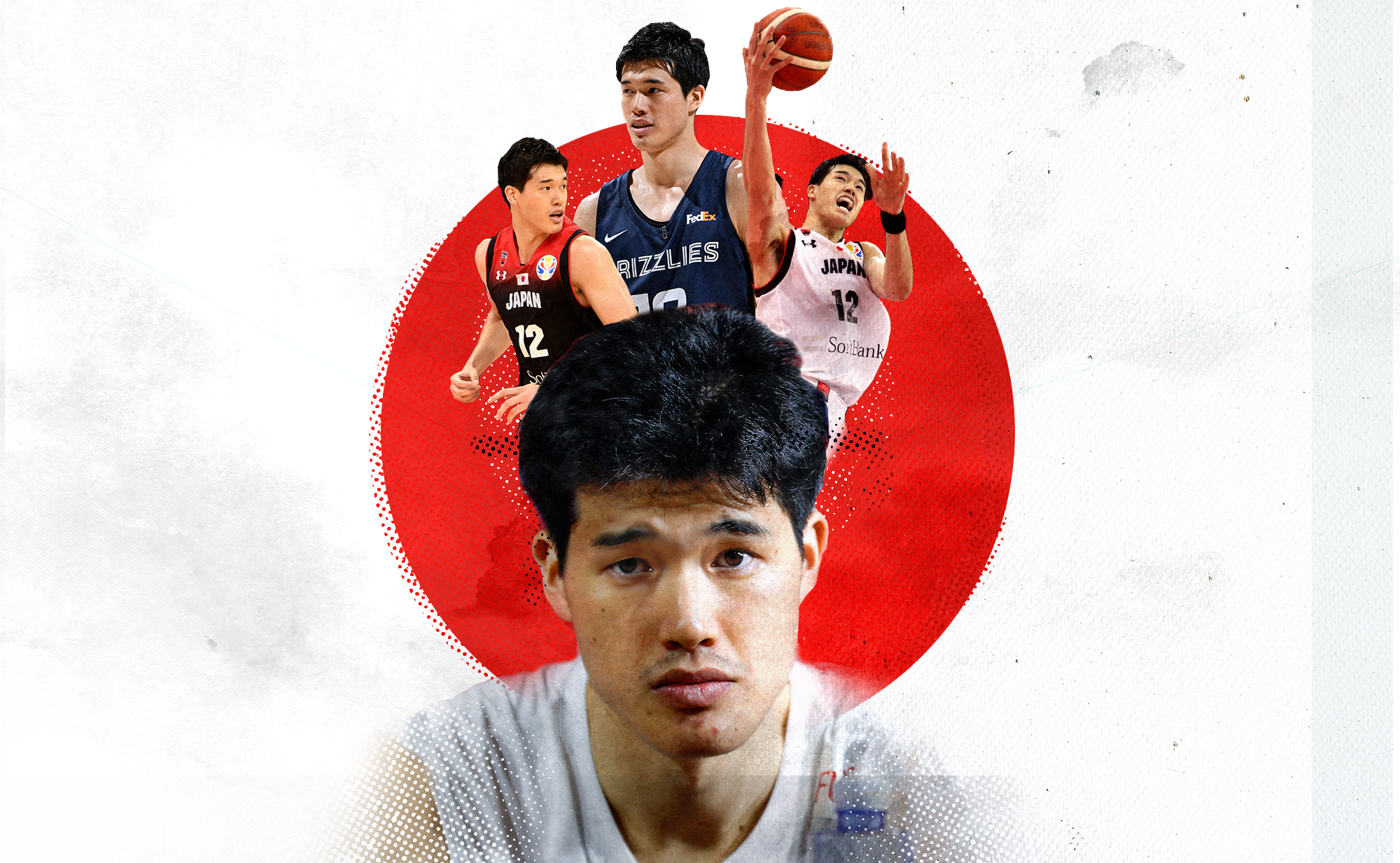 Several images of Yuta Watanabe superimposed over the flag of Japan.