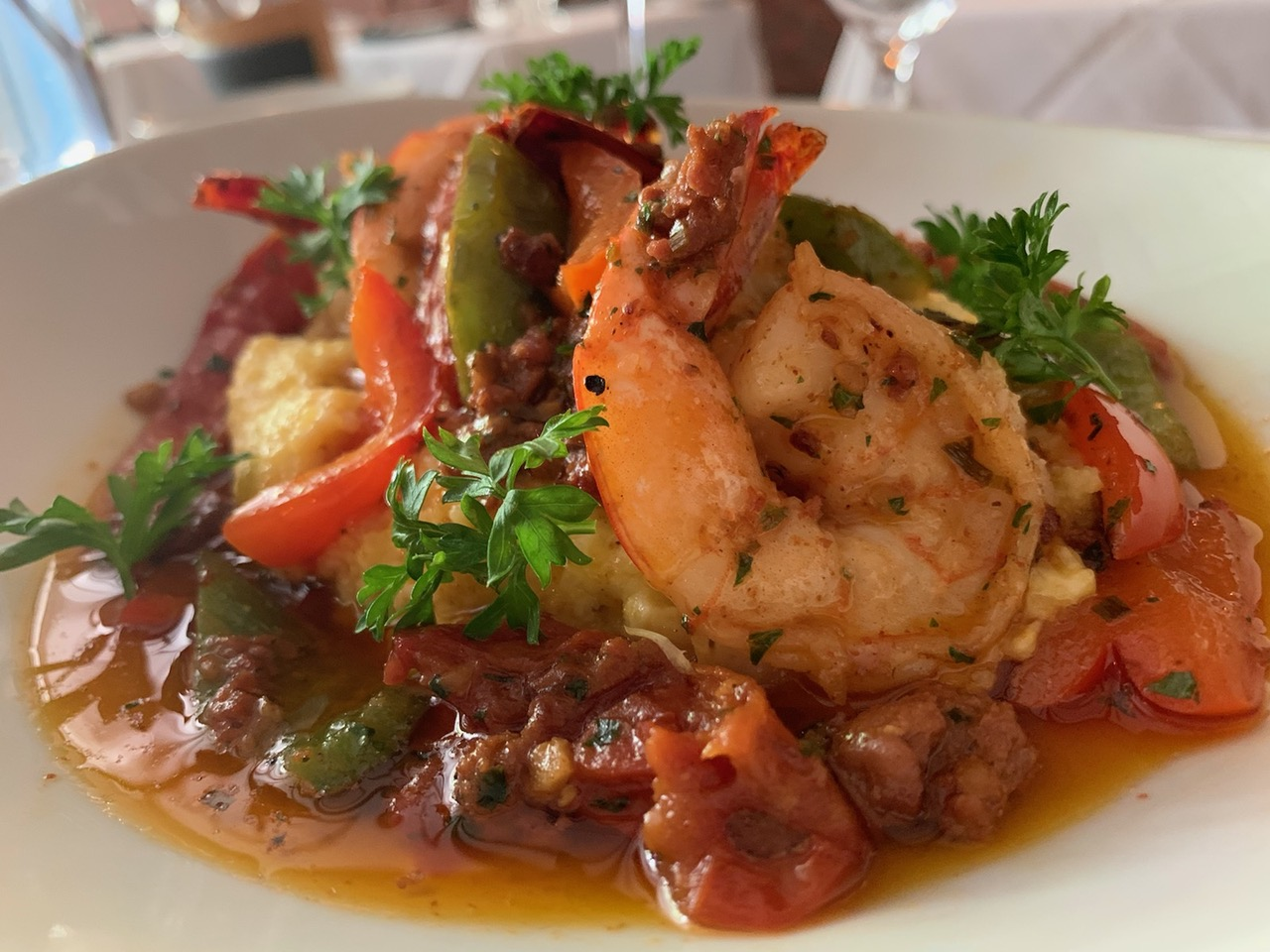 A plate of shrimp and grits