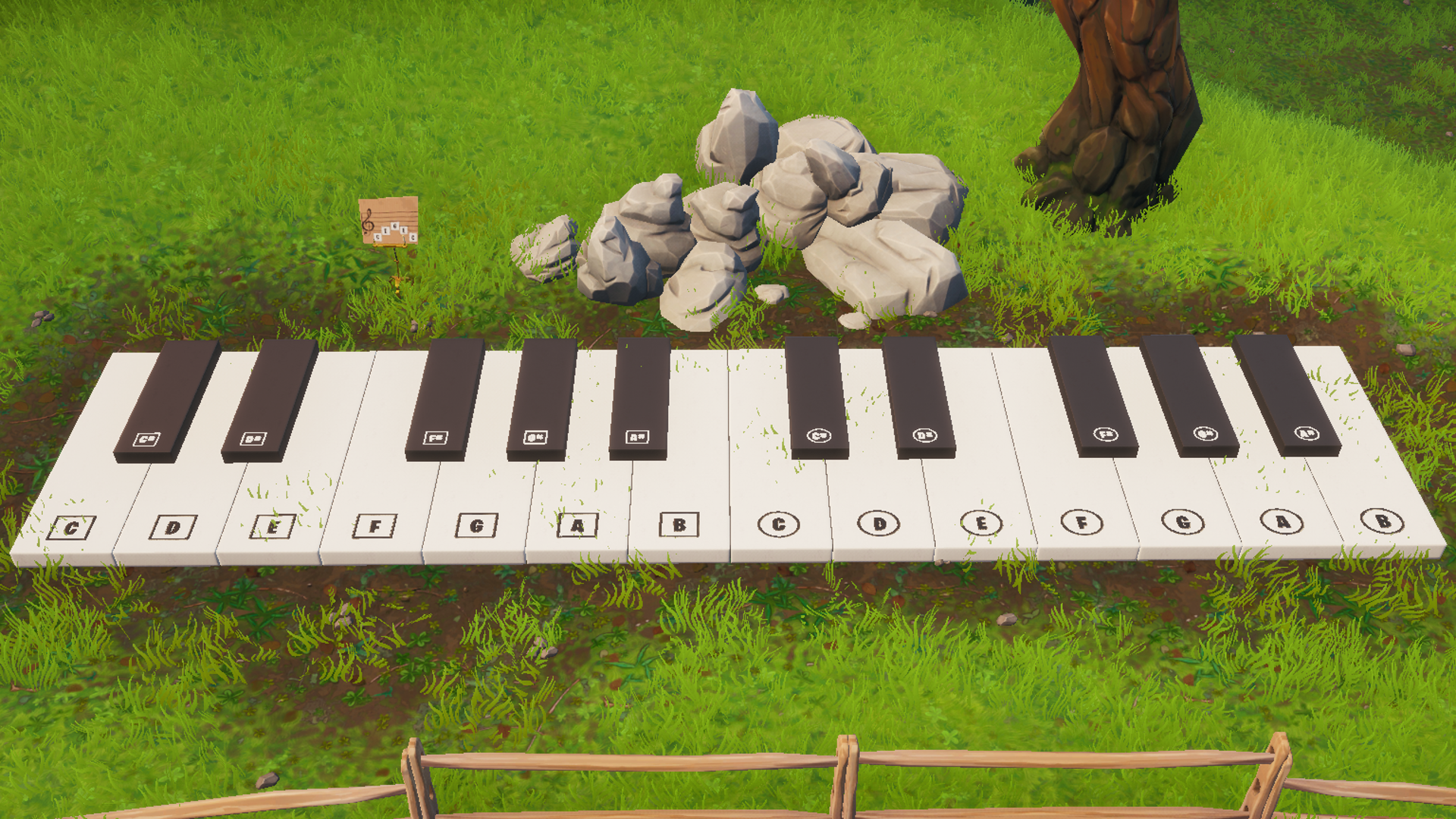 An oversized piano in Fortnite