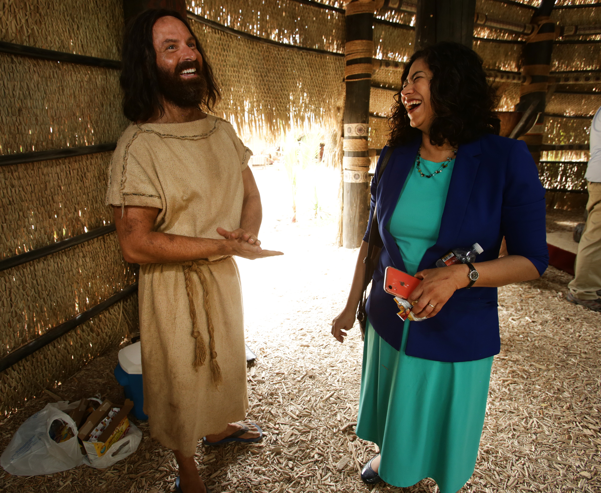 Ryan Wood, who plays the part of Abinadi talks with Sister Reyna I. Aburto second counselor in the general presidency of the Relief Society of The Church of Jesus Christ of Latter-day Saints as work on production of the Book of Mormon Videos Series continues in Provo at the LDS Motion Picture Studio on Tuesday, Sept. 3, 2019.