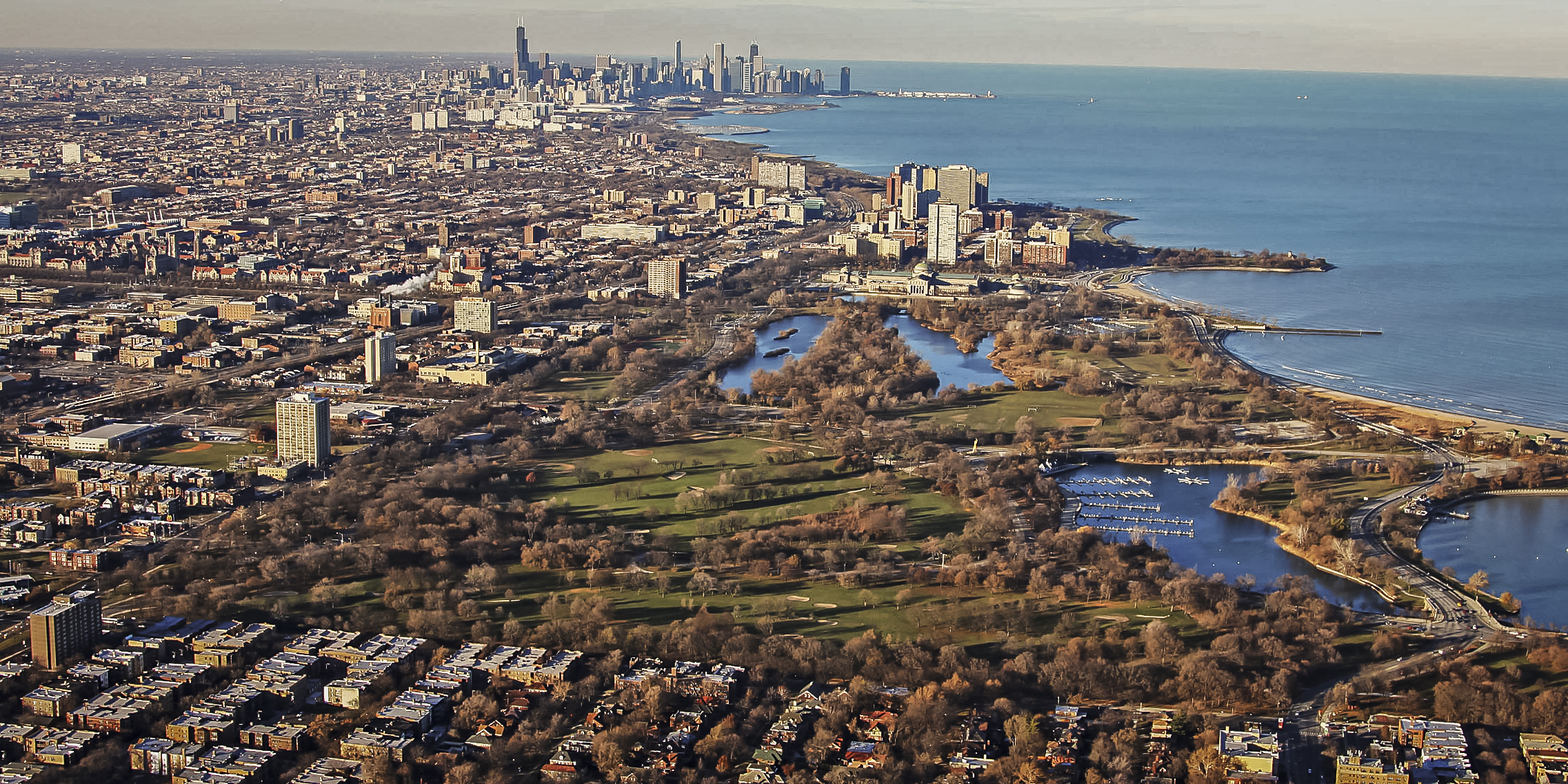 Aerial view of Jackson Park, site of the proposed Obama Presidential Center.