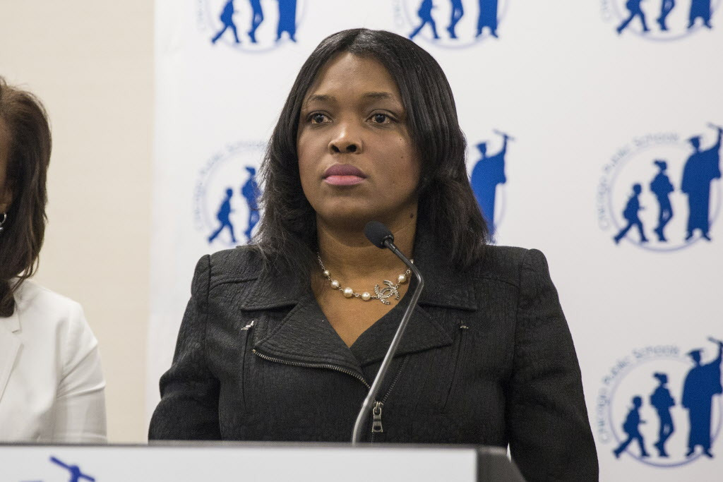 Chicago Public Schools CEO Janice Jackson holds a press conference on sexual violence in the district, at CPS headquarters, on Tuesday June 5, 2018.   Ashlee Rezin/Sun-Times
