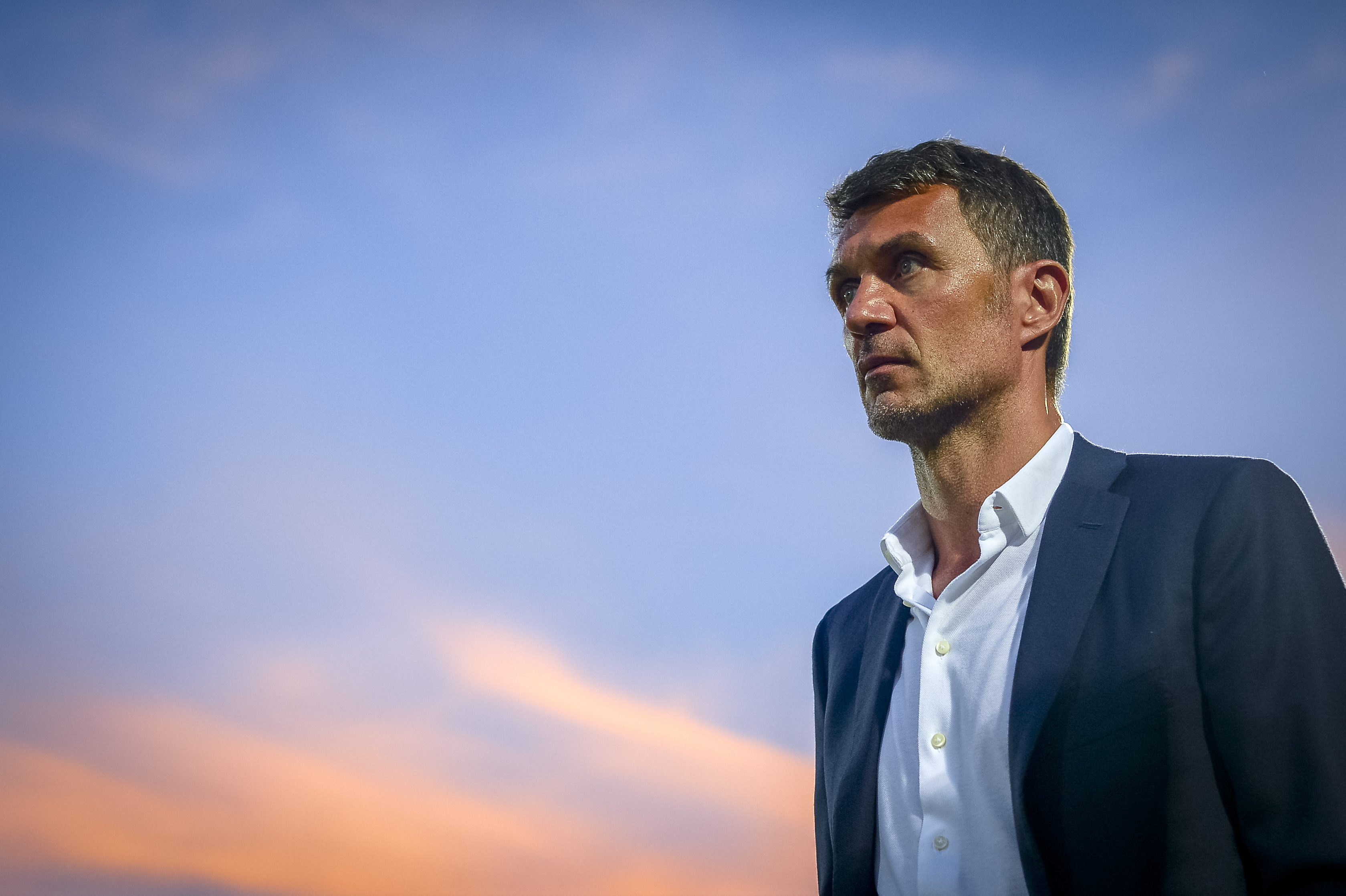 Paolo Maldini, technical director of AC Milan, looks on...