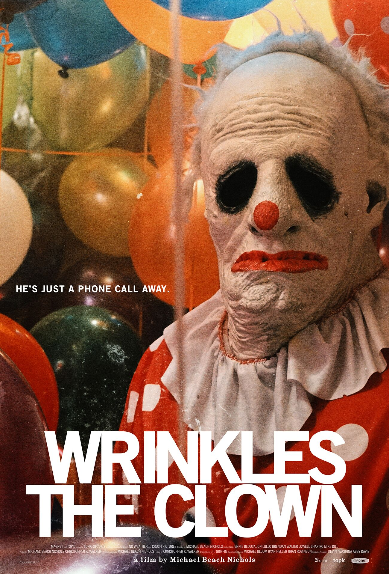 wrinkles the clown, a man in a creepy, melted clown mask