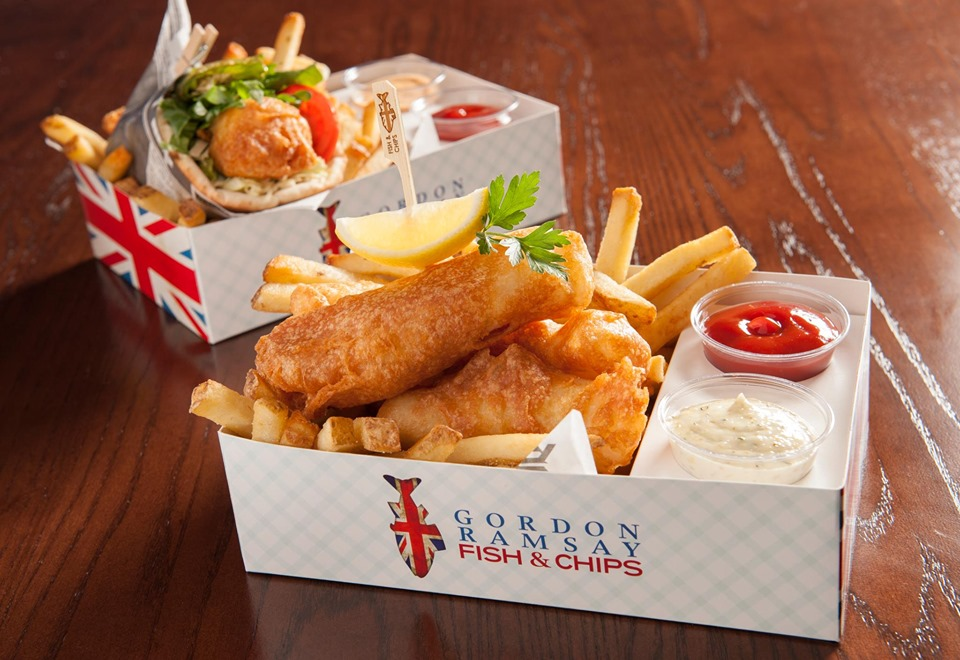 Fish and chips in a cardboard container