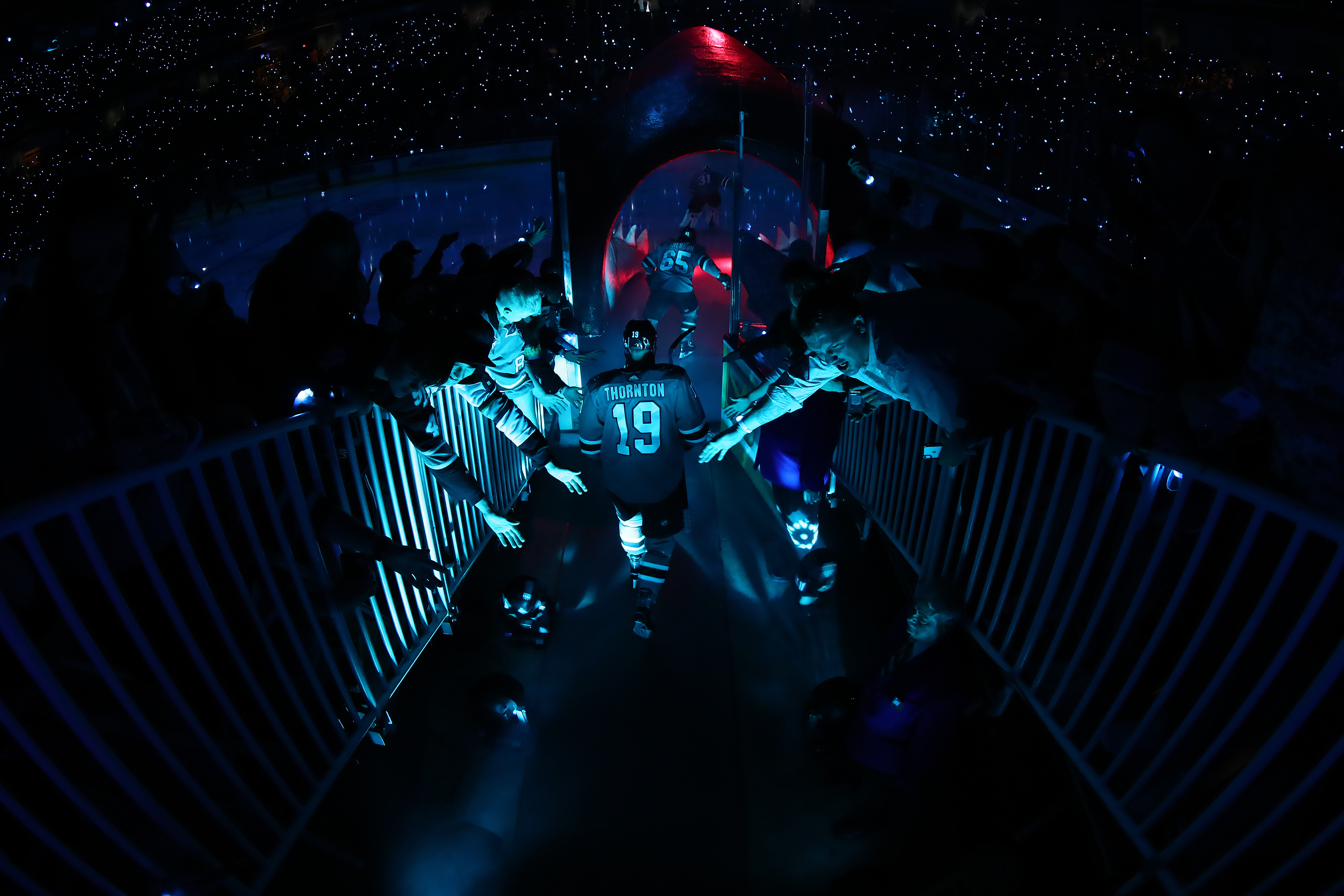 Joe Thornton of the San Jose Sharks takes the ice for Game 2 of the Western Conference Final against the St. Louis Blues during the 2019 NHL Stanley Cup Playoffs at SAP Center on May 13 in San Jose, California.