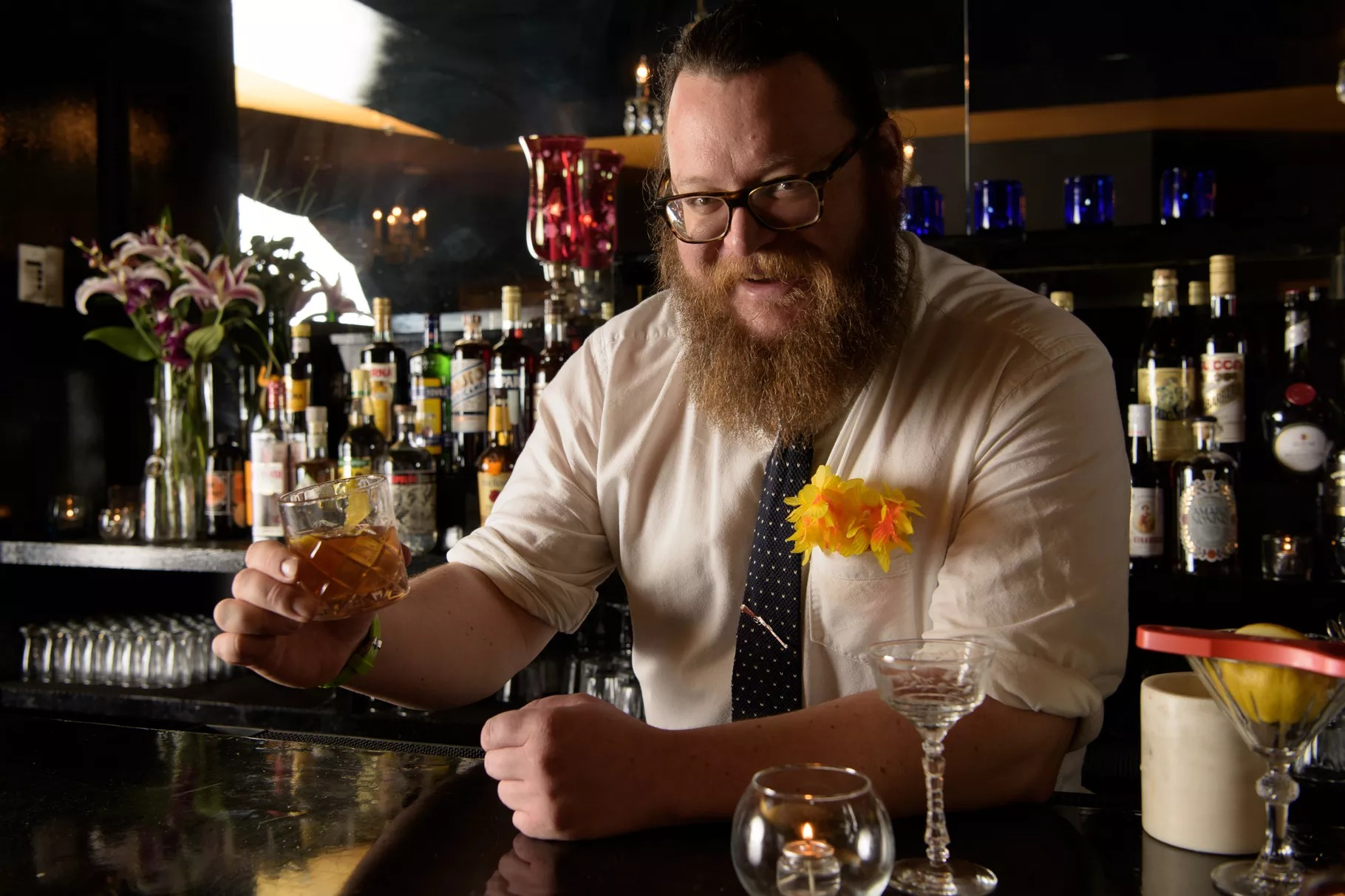 A portrait of former Eater D.C. Bartender of the Year Lukas B. Smith