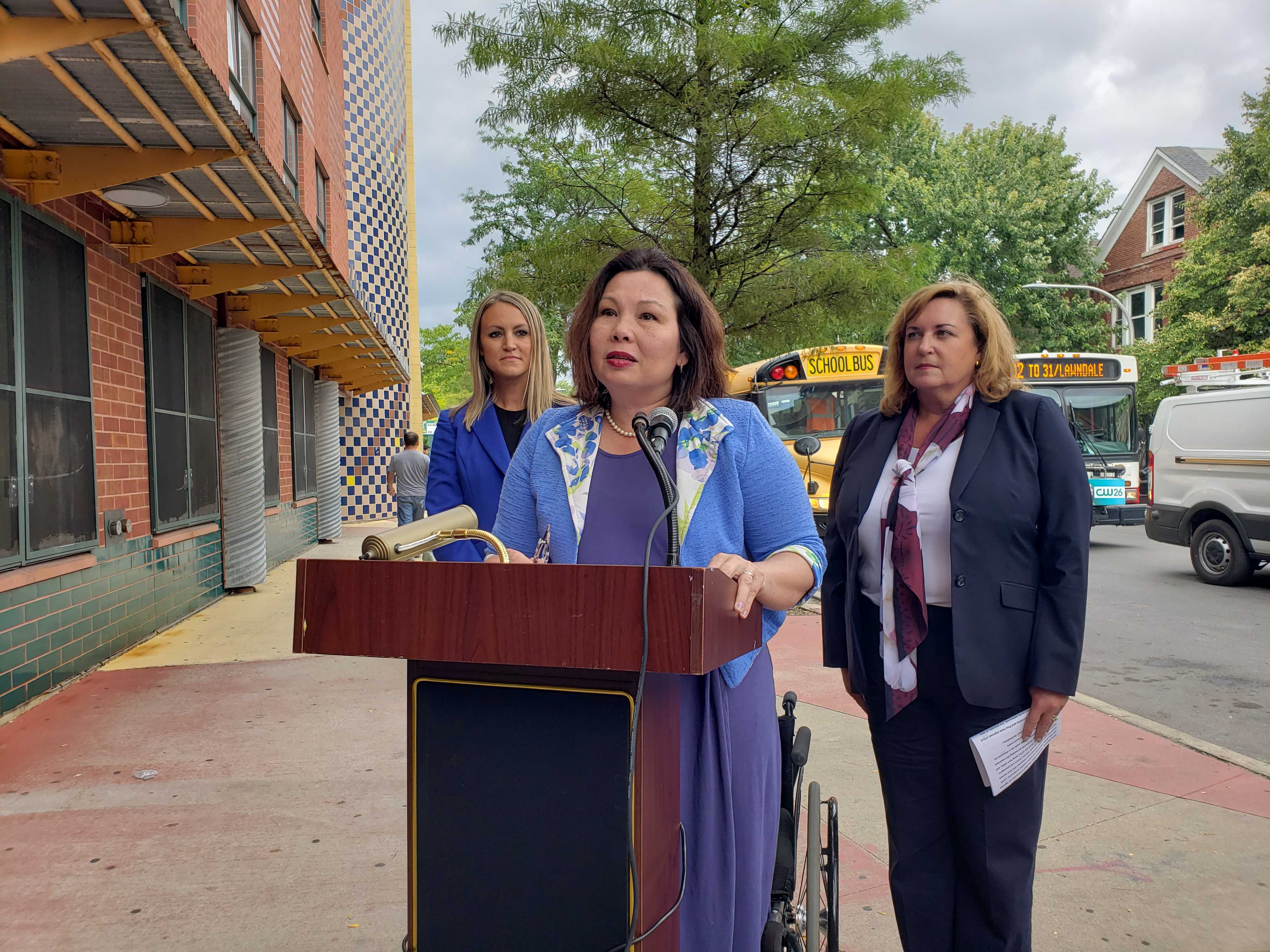 U.S. Sen Tammy Duckworth discusses school bus safety legislation.