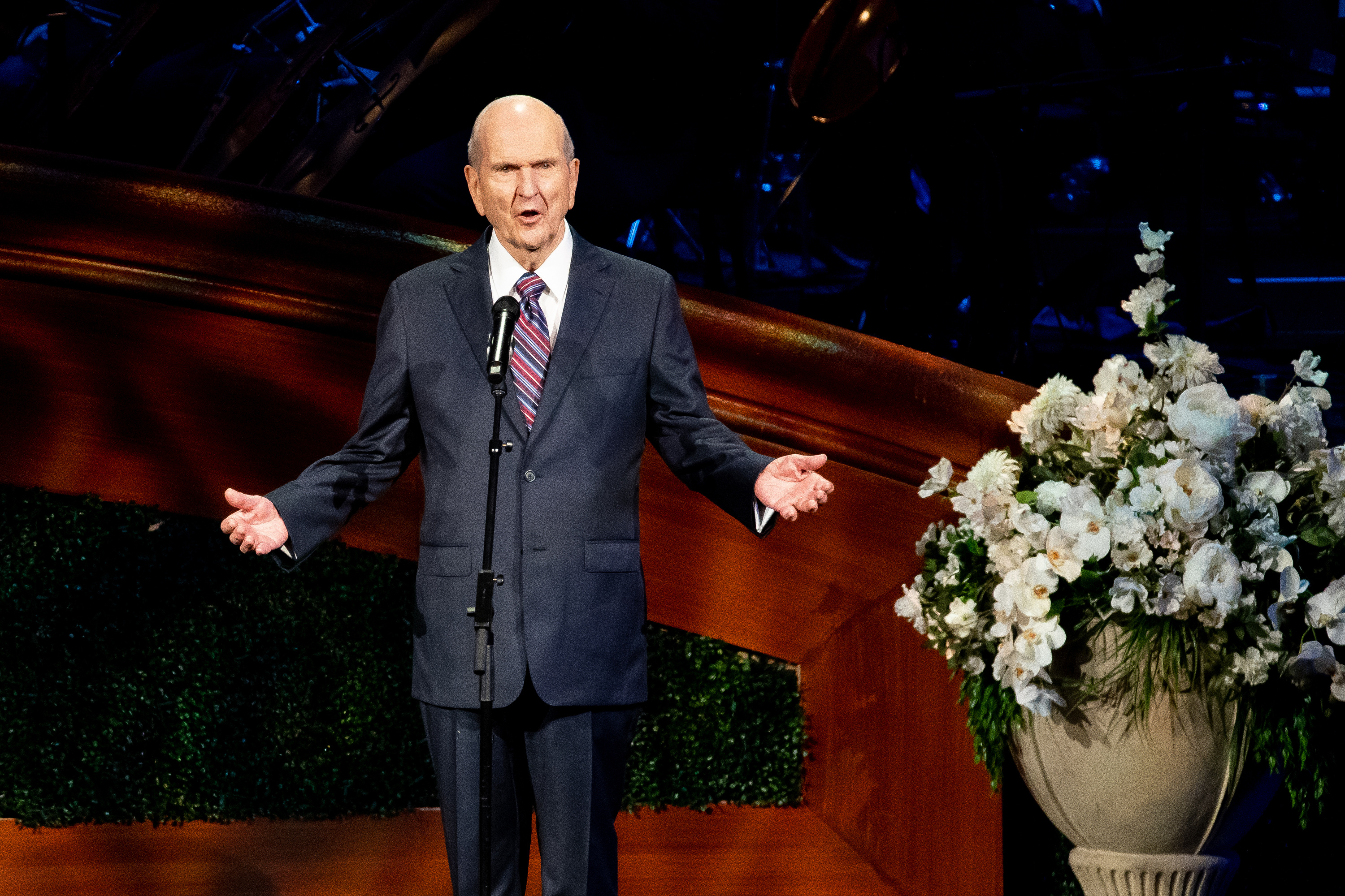 President Russell M. Nelson of The Church of Jesus Christ of Latter-day Saints speaks during a celebration of his 95th birthday at the Conference Center in Salt Lake City on Friday, Sept. 6, 2019.