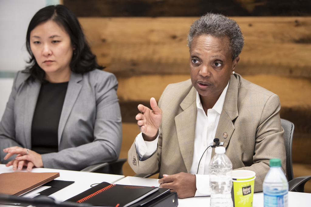 Mayor Lori Lightfoot meets with the Sun-Times Editorial Board August 30, 2019. At left is Budget Director Susie Park.