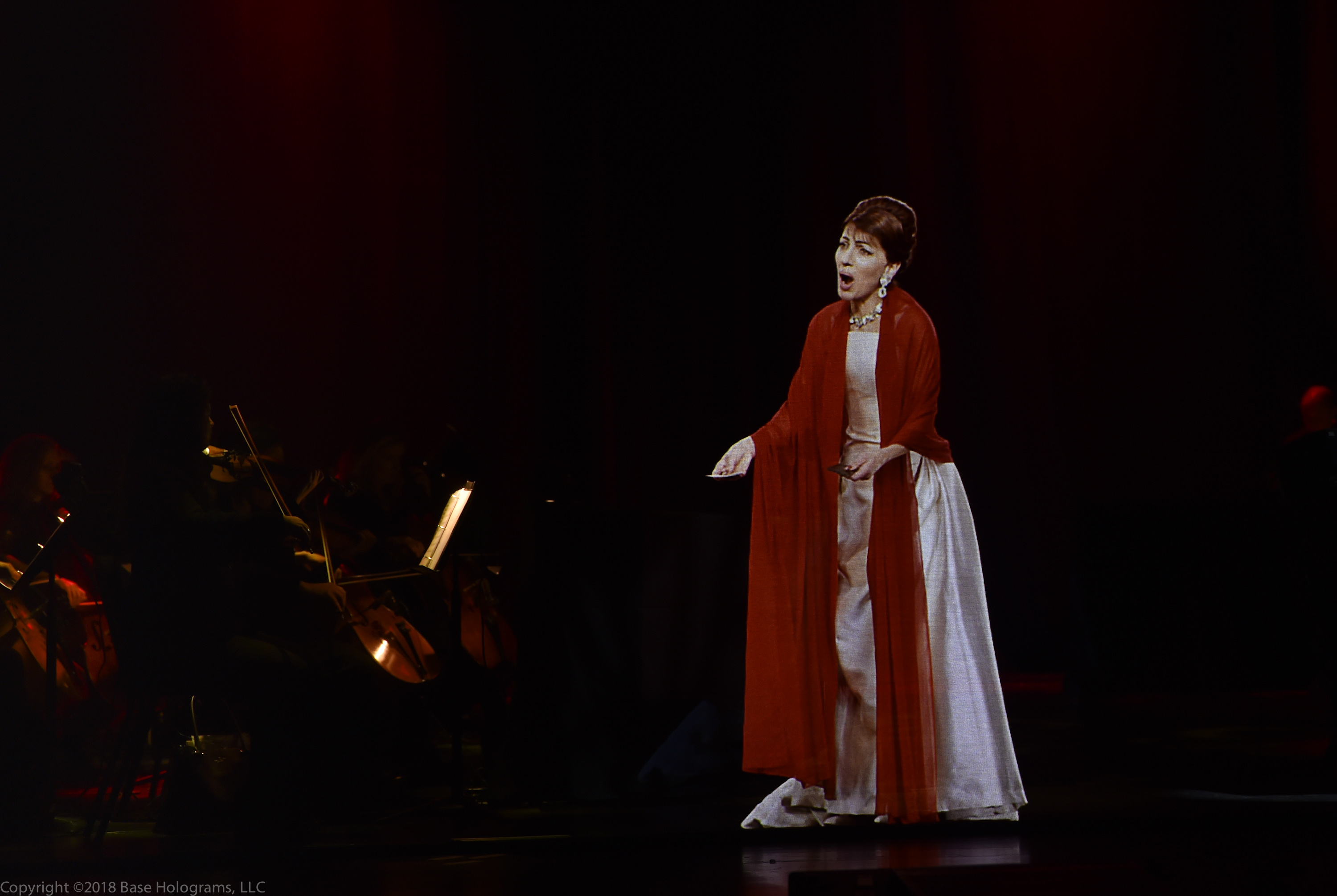 "Maria Callas hologram ""in concert"" at the Jazz at Lincoln Center in 2018."