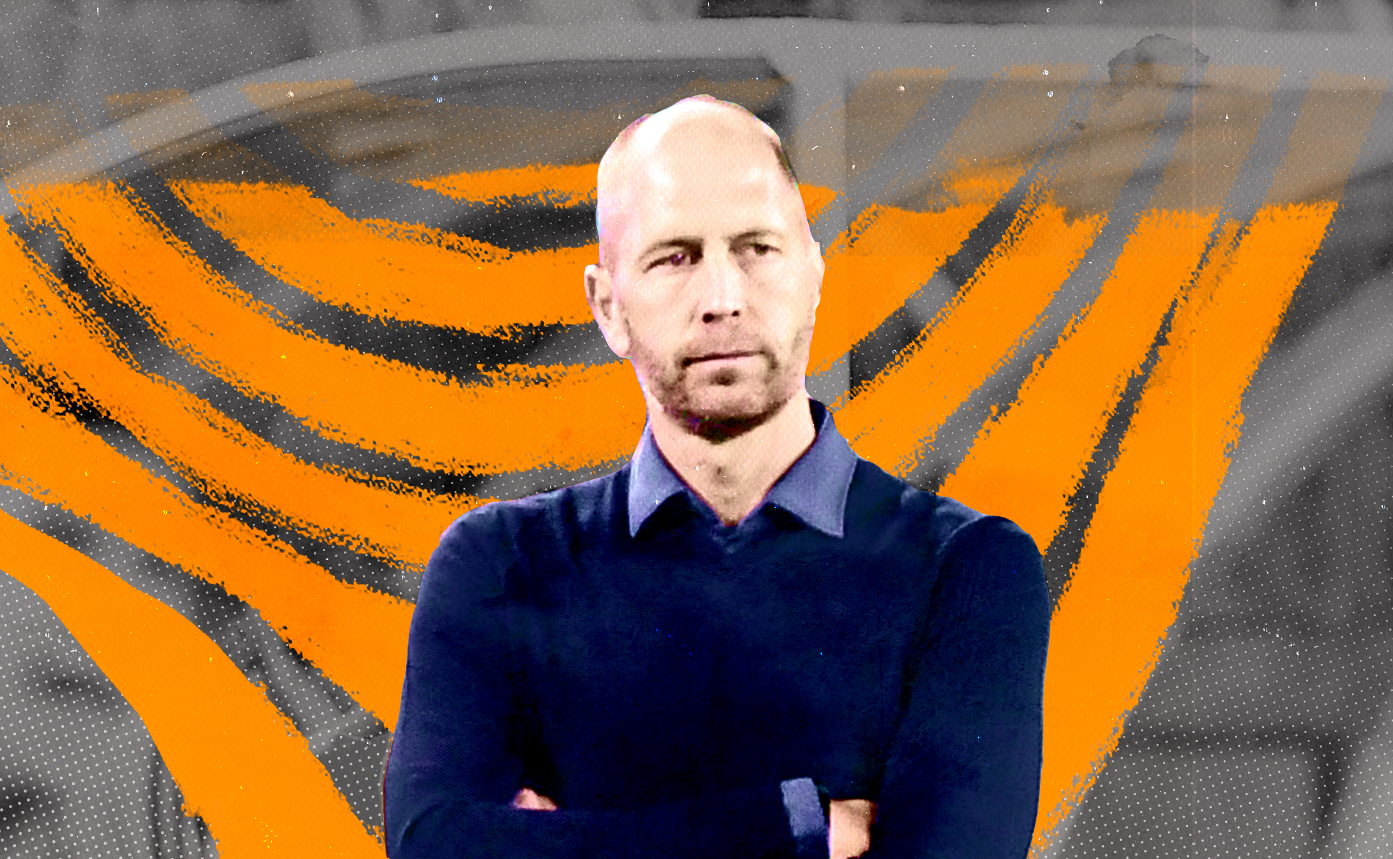 United States Men's National Team head coach Gregg Berhalter standing with his arms folded on his chest in front of an orange illustrated background.