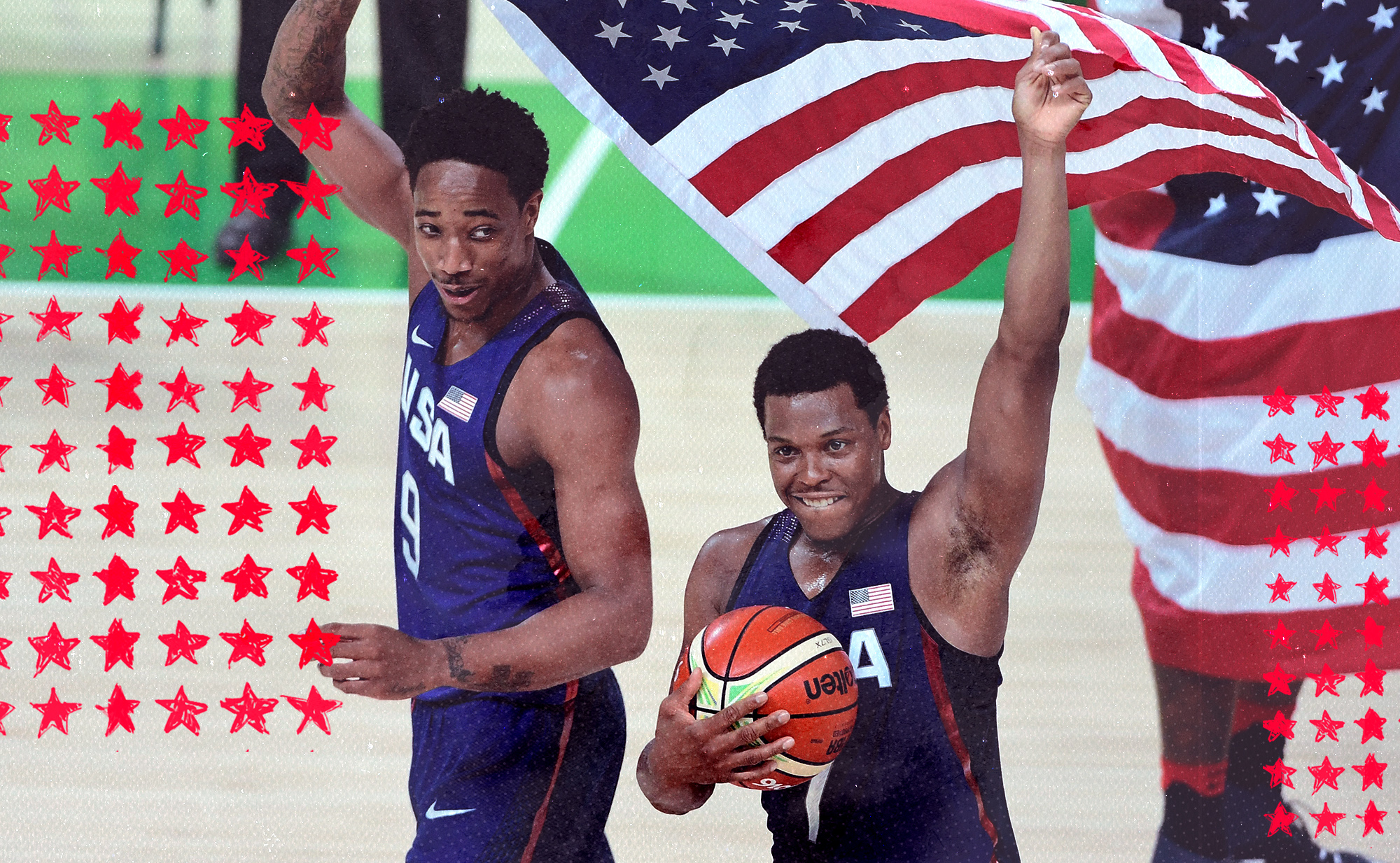 DeMar DeRozan, left, and Kyle Lowry representing USA Basketball celebrate while holding the U.S. flag.