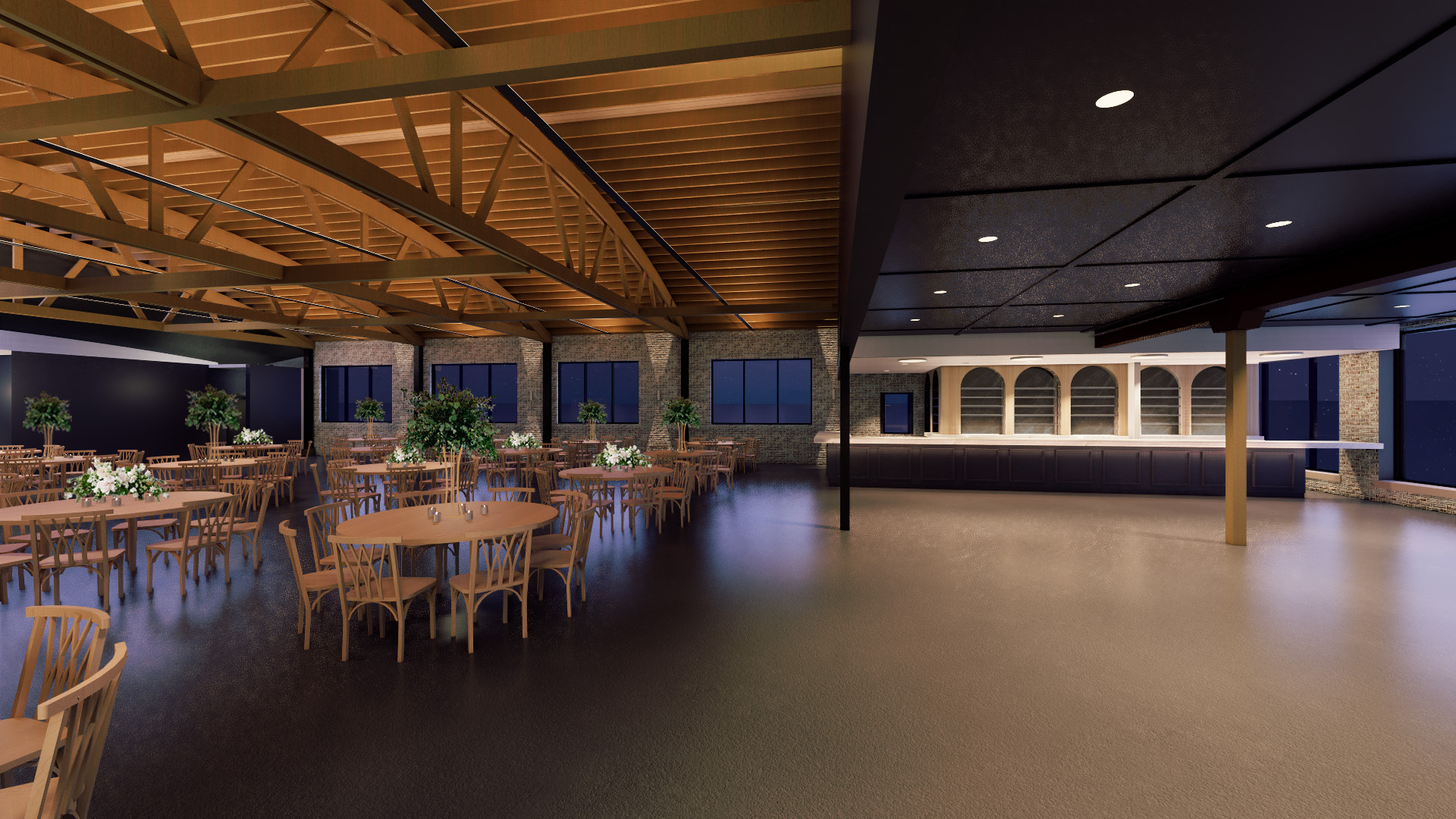 A rendering of a wedding venue with a bar on the right and tables and chairs on the right.