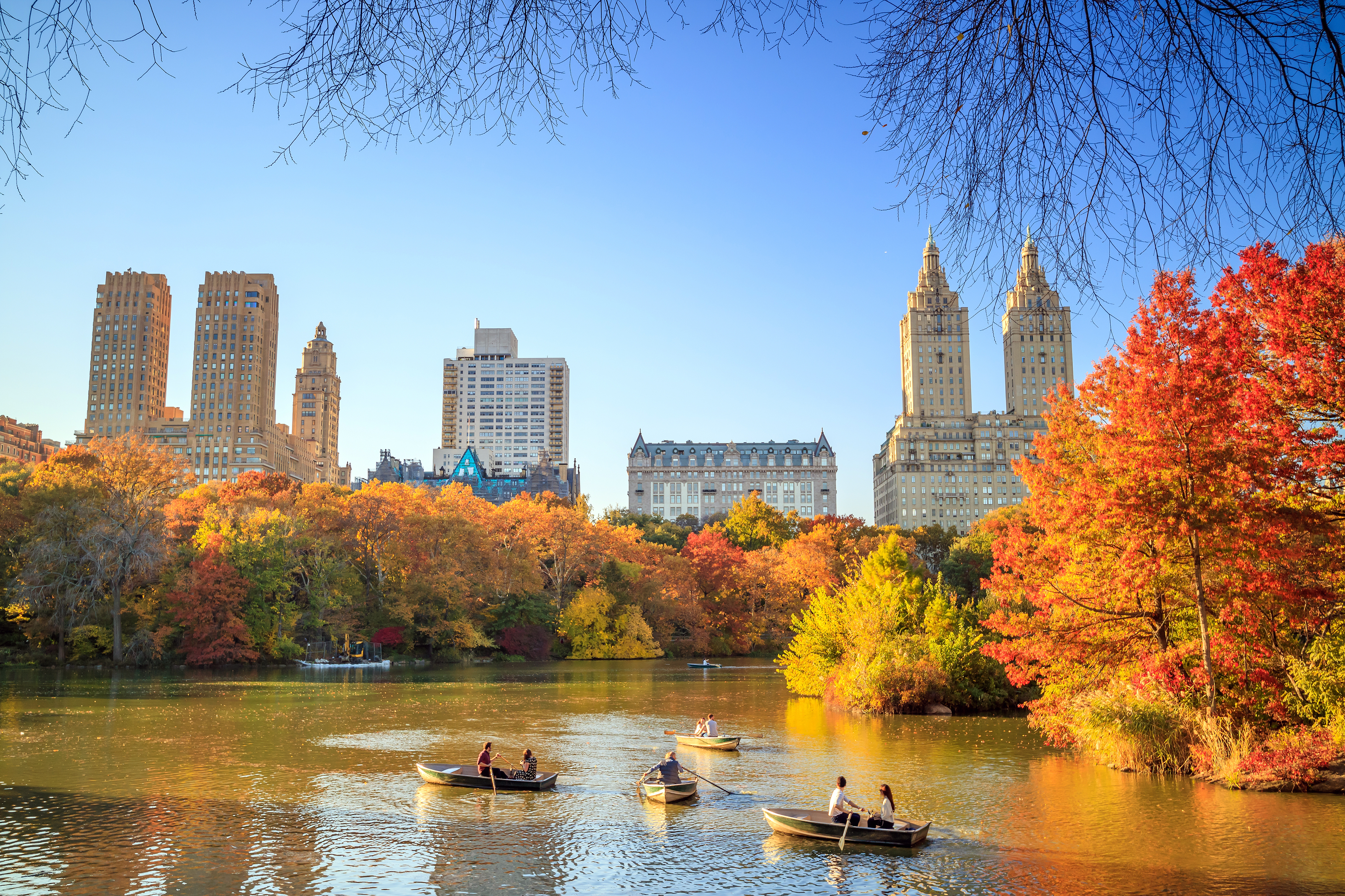 In the foreground is Central Park Lake. There are people in row boats on the lake. The lake is surrounded by trees with colorful Autumn leaves. In the distance are tall city buildings.