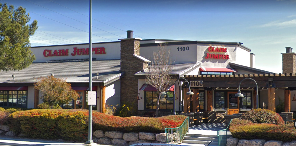 The exterior of the now shuttered and dark Claim Jumper restaurant on Charleston Boulevard..