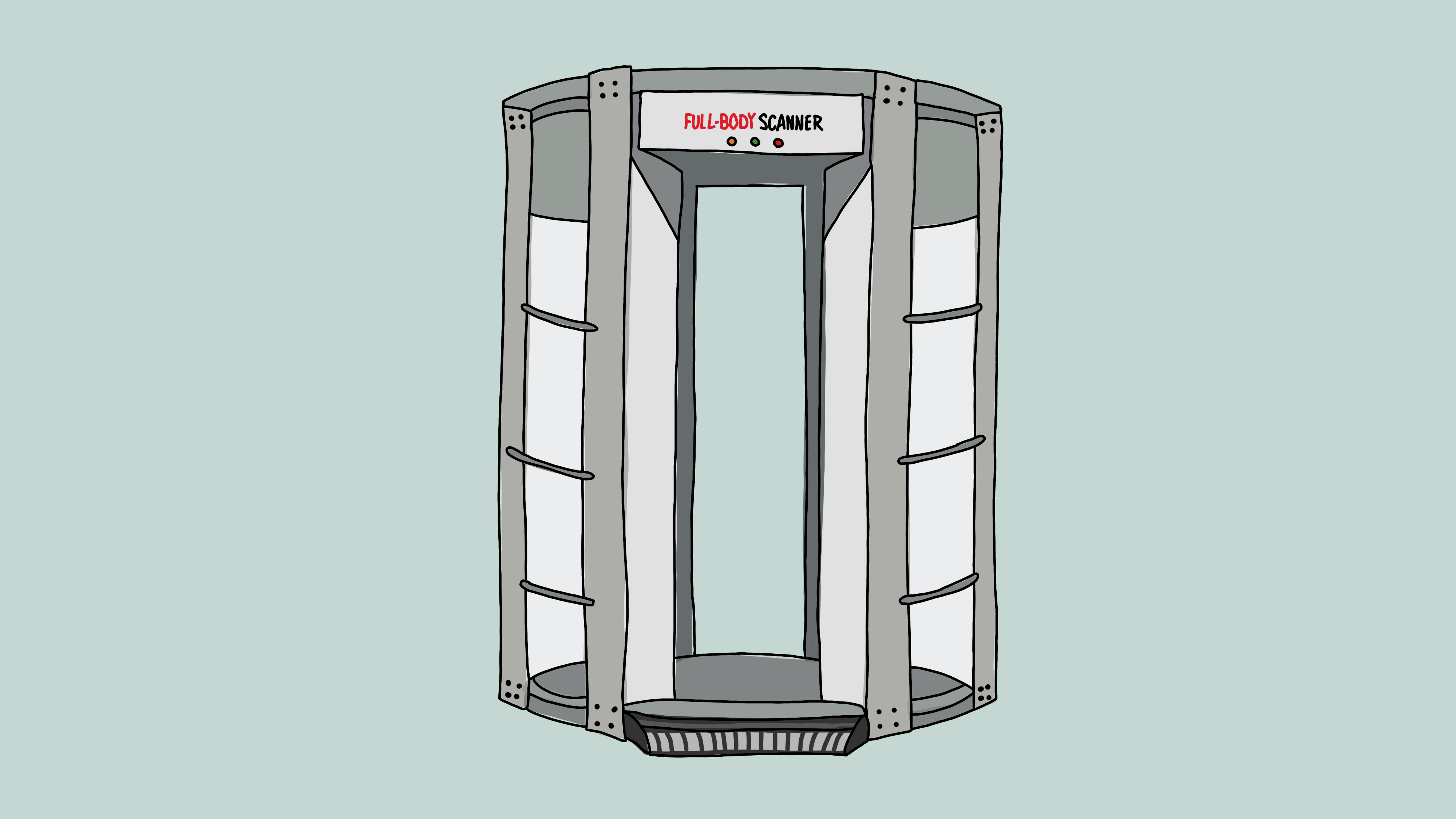 An illustration of a TSA body scanner.