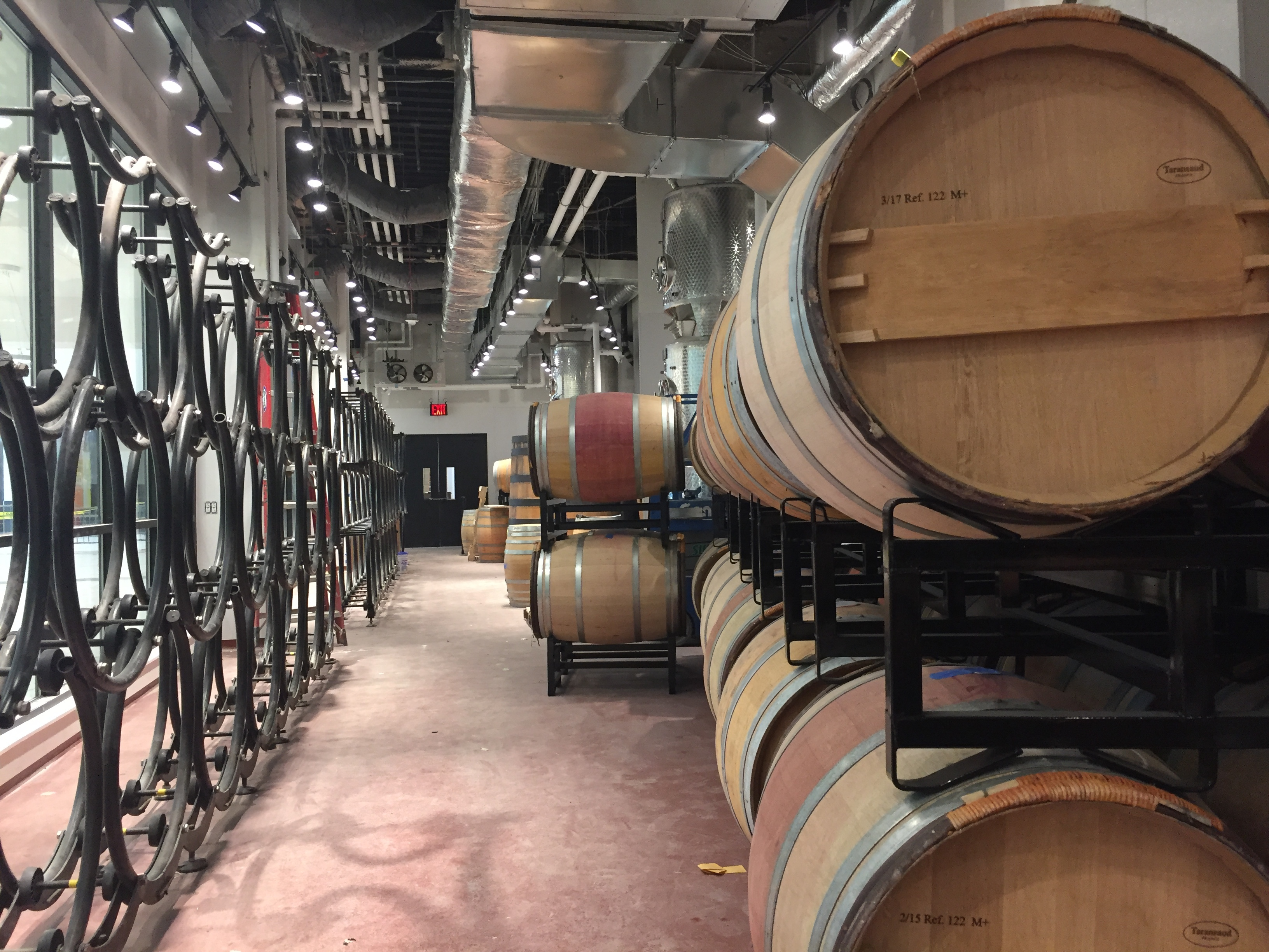wine barrels in a big room