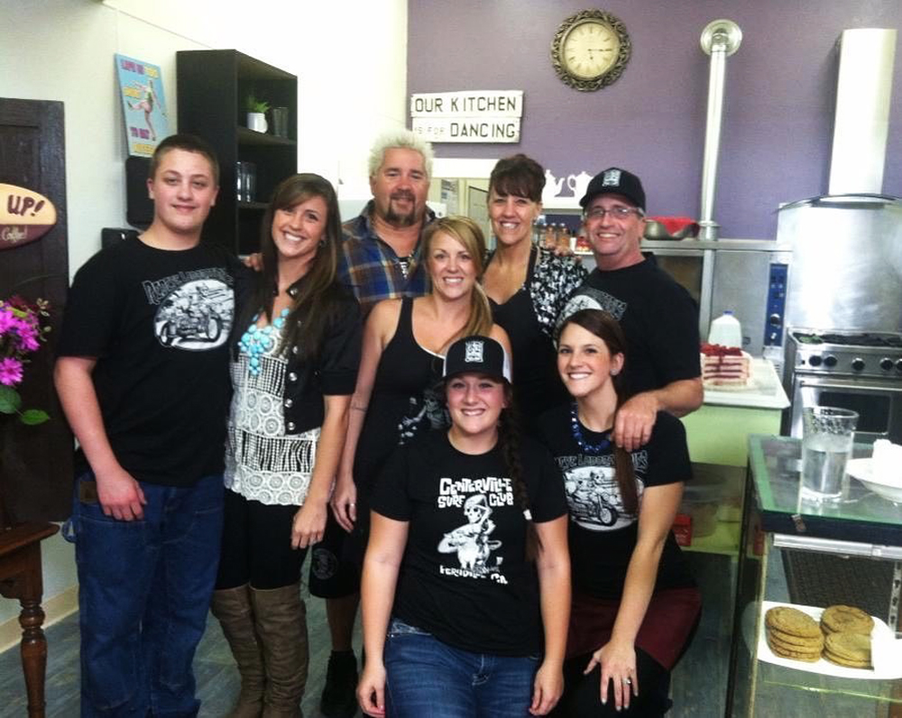 Celebrity Chef Guy Fieri poses with the staff and owners of Humboldt Sweets, moving to Henderson next month.
