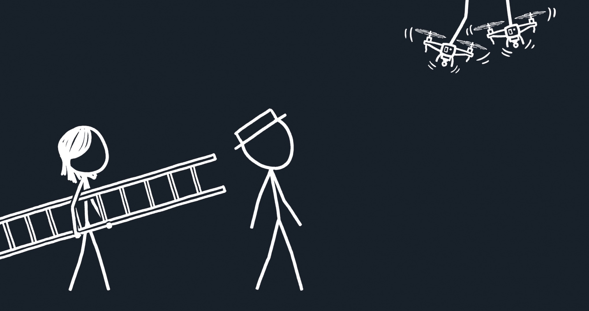 Two stick figures, male and female, watch a third attempt to change a lightbulb. The third is hovering, with one foot each on a helicopter drone.